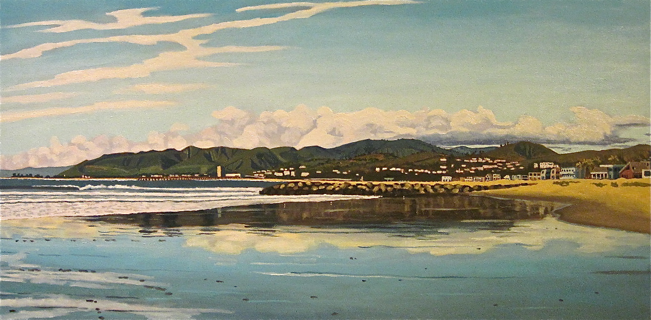 """""""Pierpont Low Tide Reflections"""" oil on canvas 24 x 48 sold"""