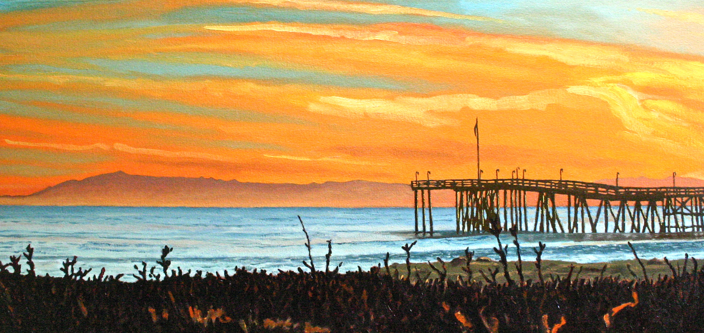 """""""The Pier at Sunset"""" oil on canvas 20 x 42 sold"""