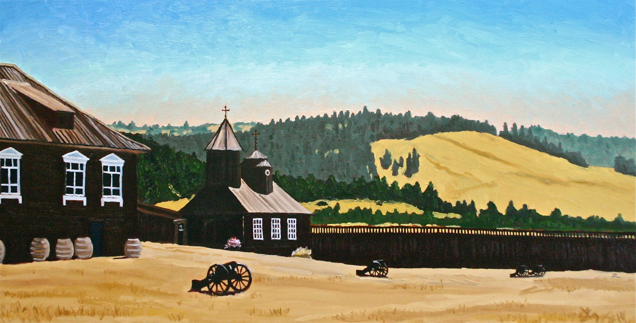 """Fort Ross"" oil on canvas 18 x 36"