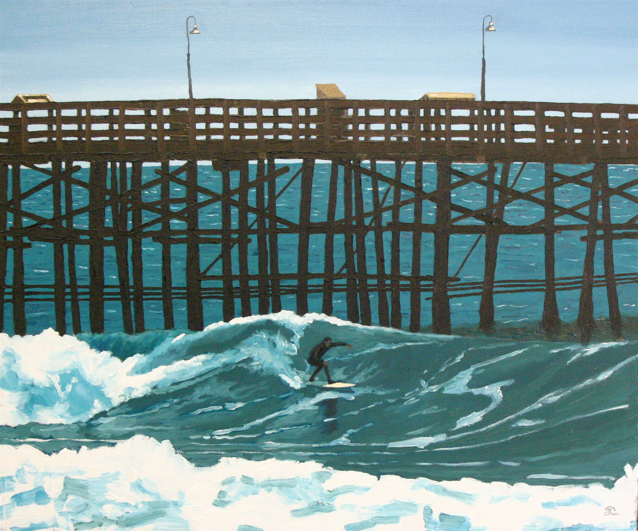"""""""Good Day at the Pier"""" oil on canvas 20 x 24 sold"""