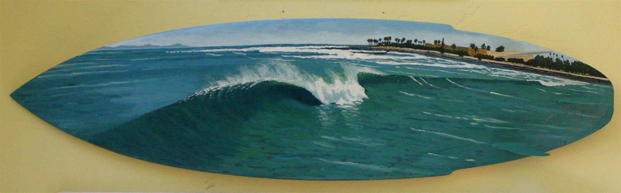 """""""Inside Point"""" oil painting on surfboard sold"""