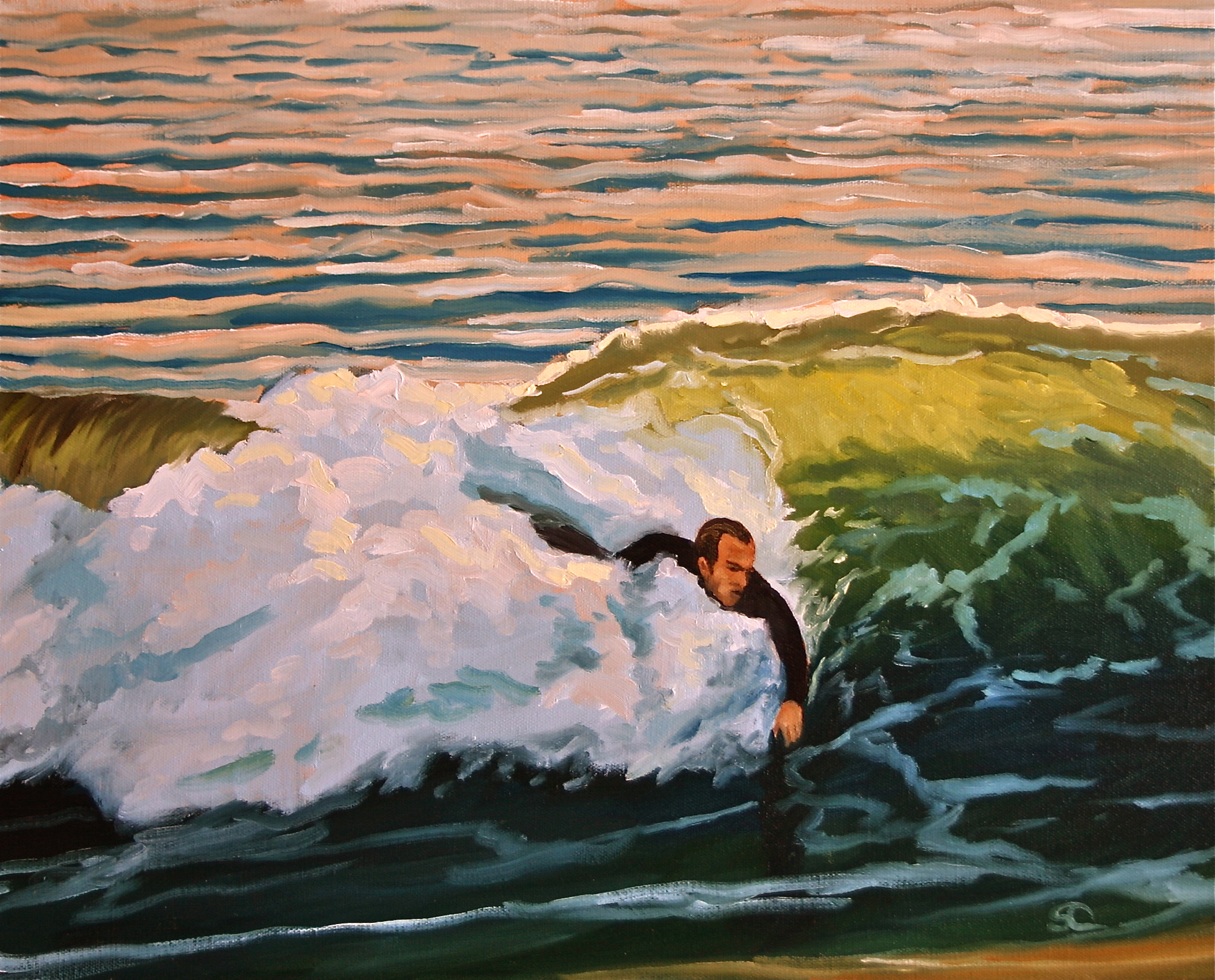 """""""The Body Surfer"""" oil on canvas 16 x 20"""