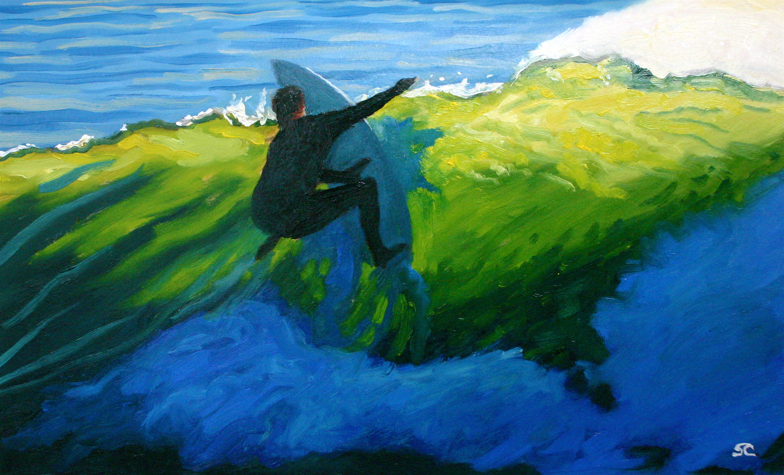 """""""Dane at the Dredge"""" oil painting on surfboard segment (donation to SurfAid International Auction NYC 2009)"""