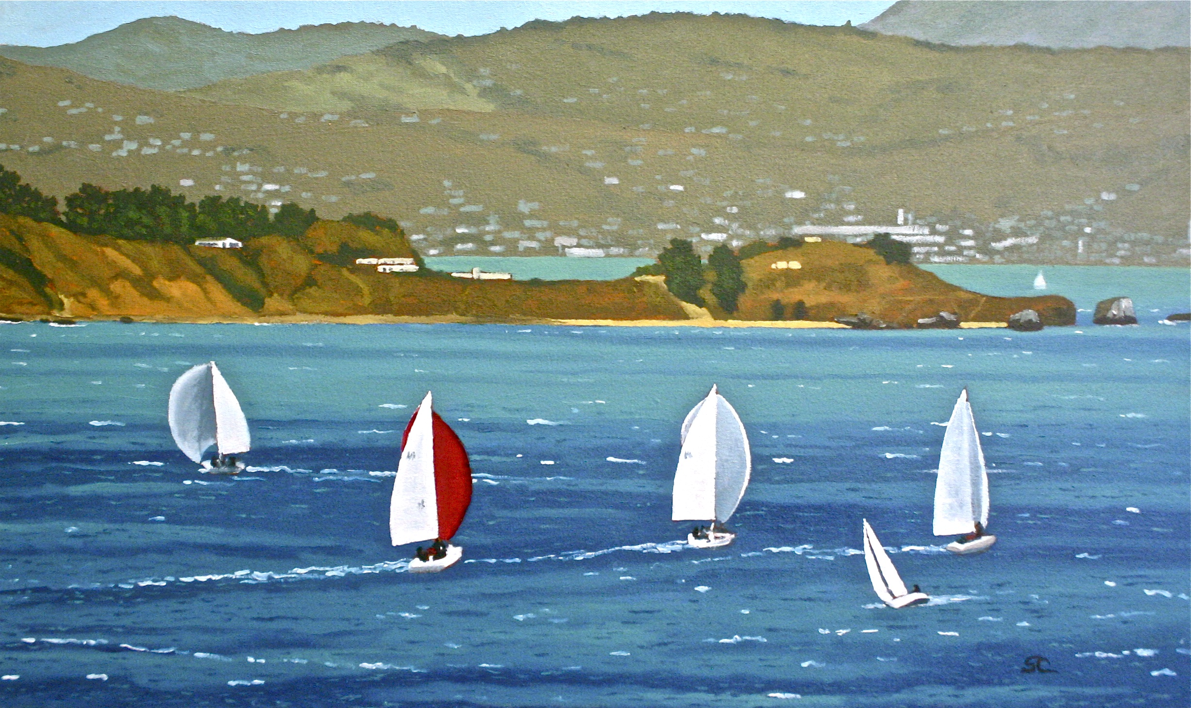 """Spinnakers off Angel Island"" oil on canvas 18"" x 30"""