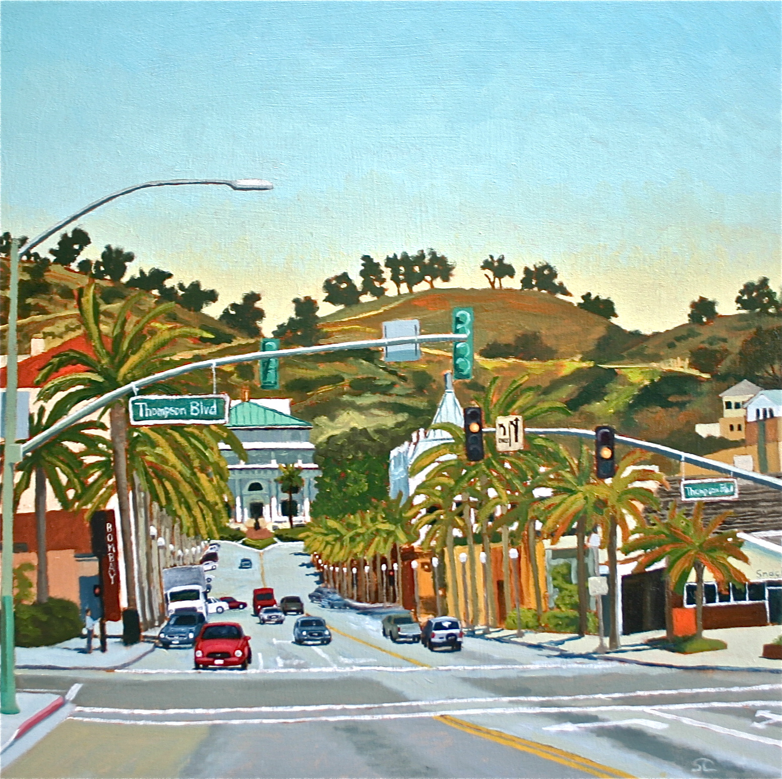"""""""California Street at Thompson"""" oil on canvas 30 x 30 sold"""