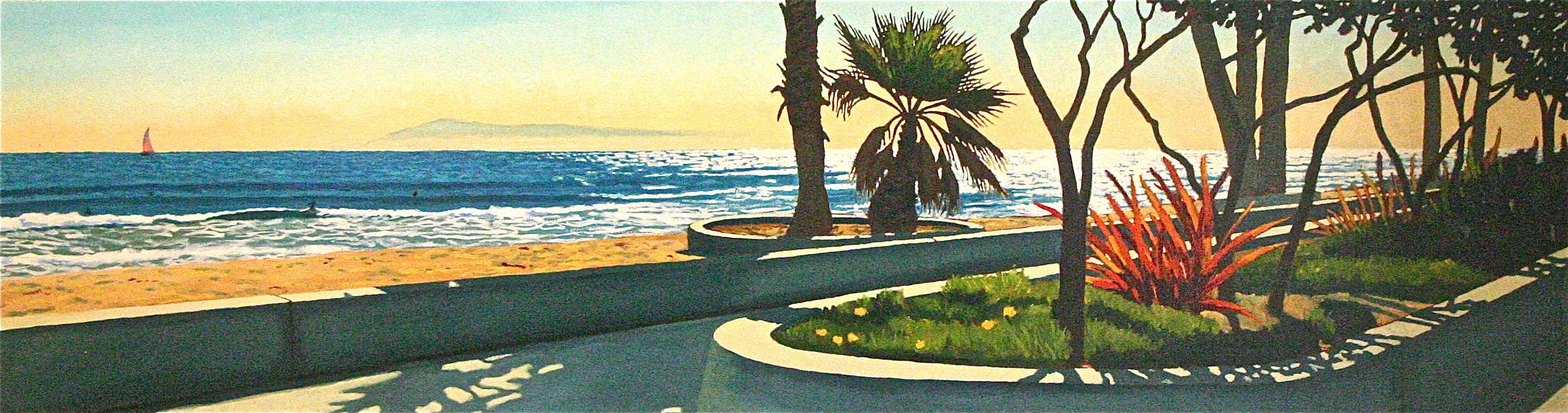 """""""The Little Palm"""" oil on canvas 16 x 60 sold"""