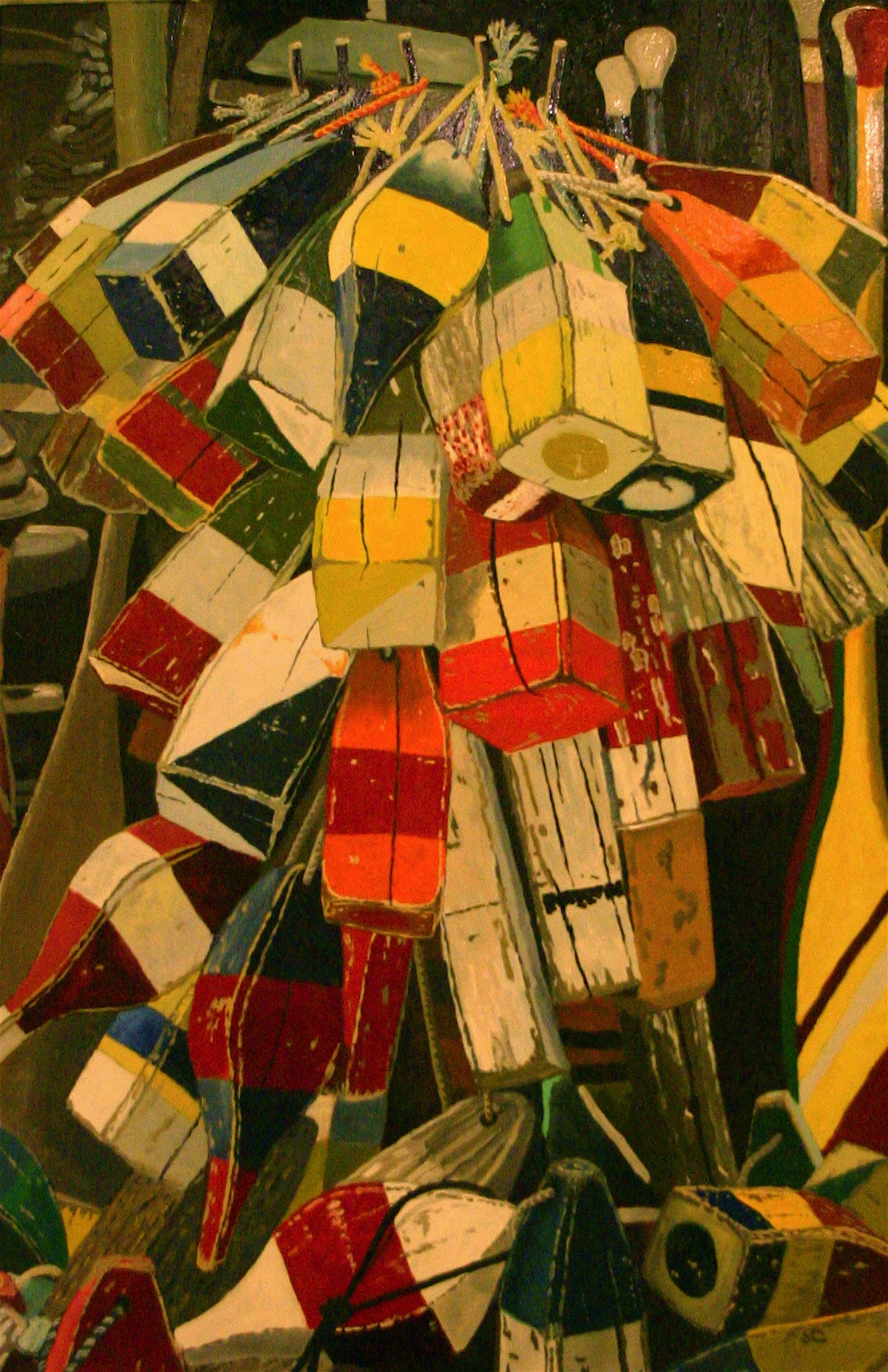 """""""Buoys"""" oil on canvas 24 x 36 SOLD"""