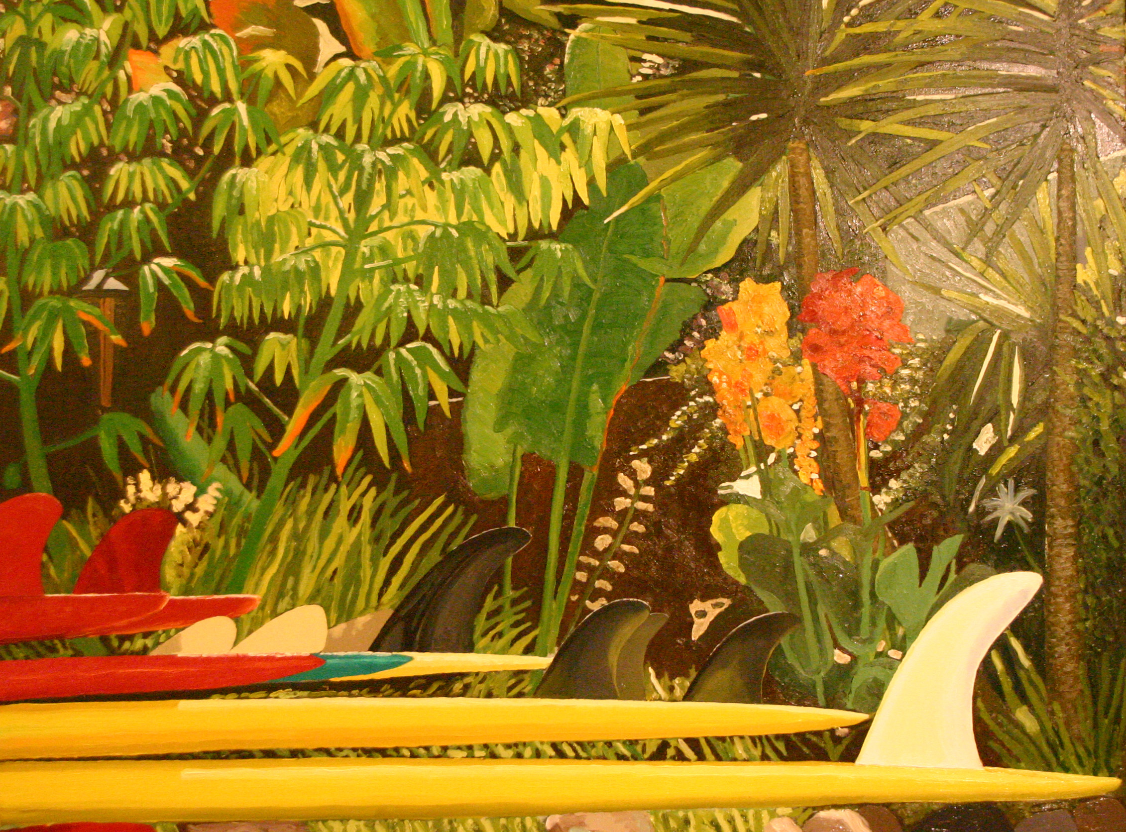 """""""Surfboards in the Garden"""" oil on canvas 24 x 36 sold"""