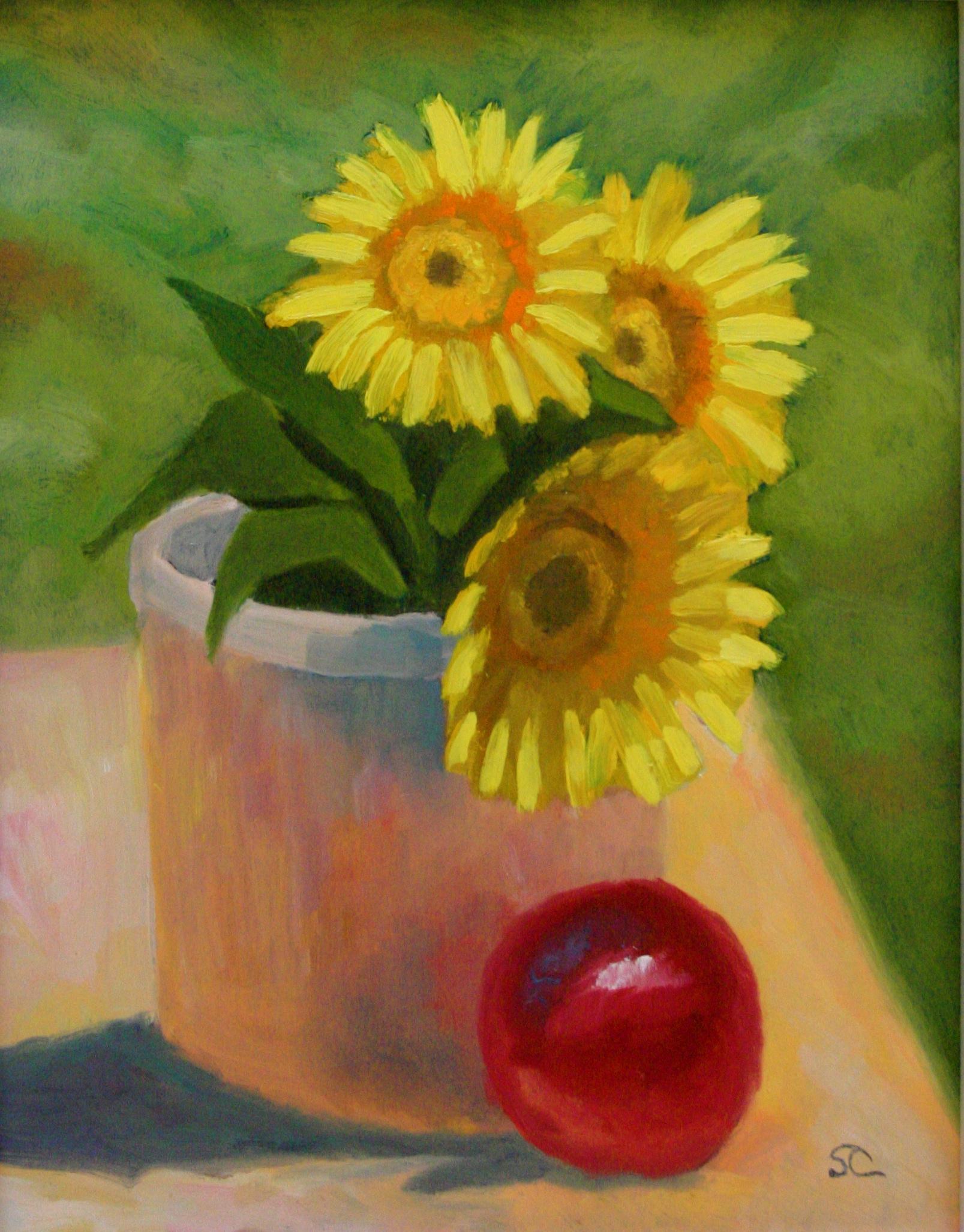 """Sunflowers"" oil on panel 12 x 16"