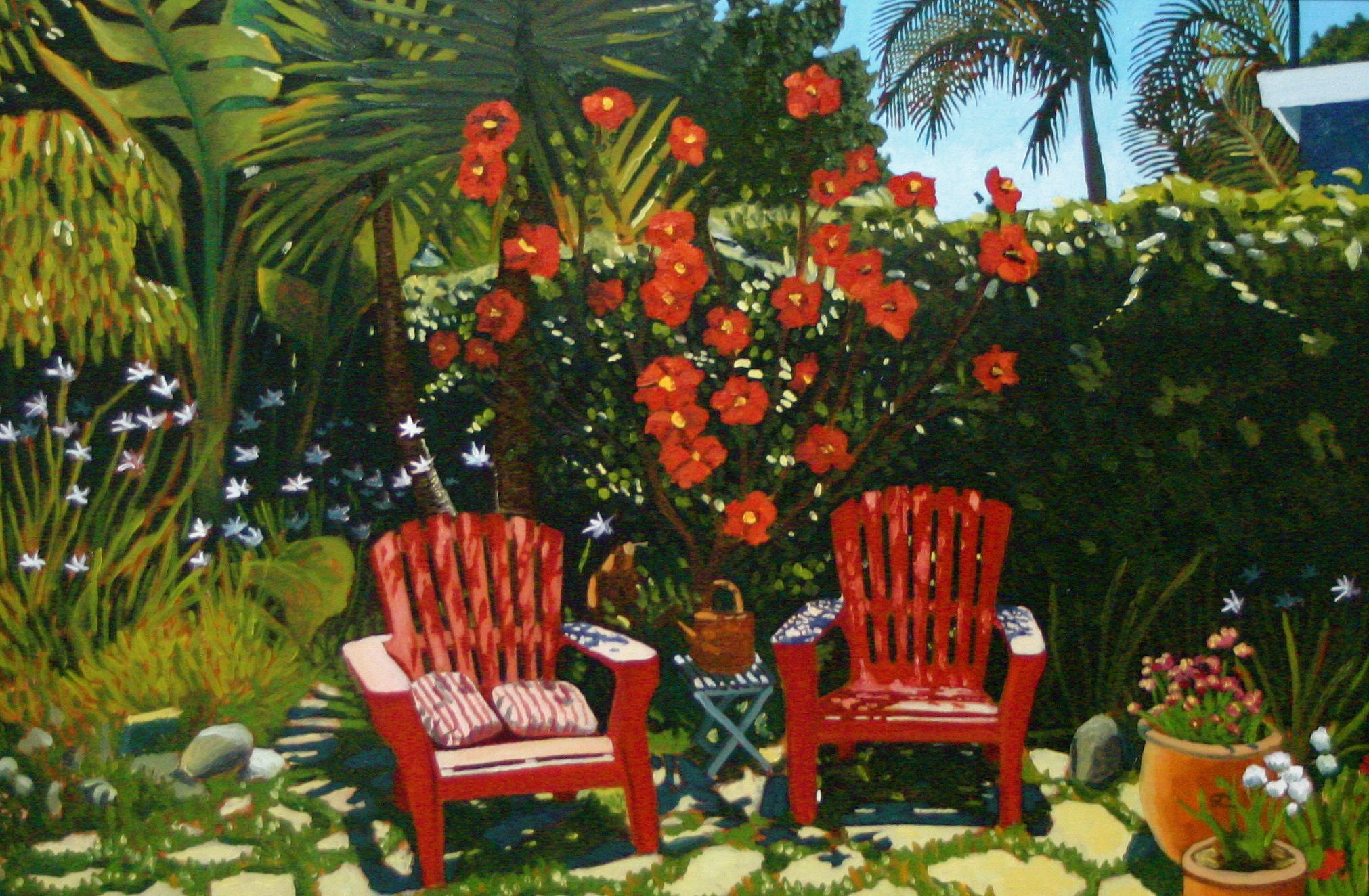 """Carol's Garden"" oil on canvas 24 x 36 sold"