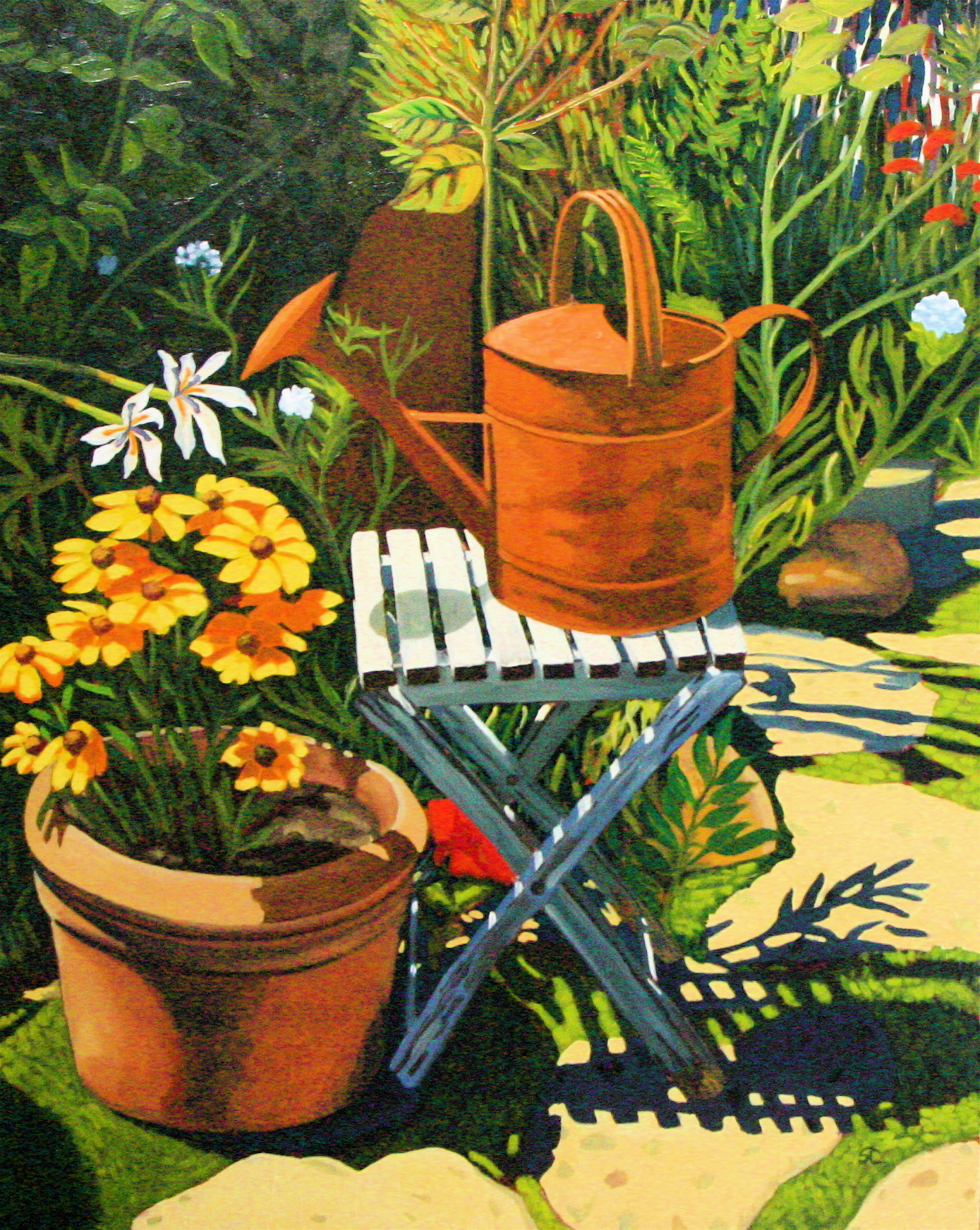 """""""Flowers and Rust"""" oil on canvas 48 x 60"""
