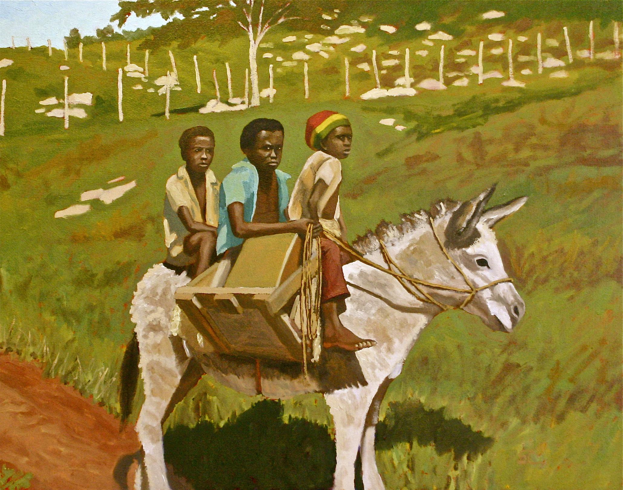 """""""Jamaica Boys on a Donkey, 1974"""" oil on canvas 24 x 30"""