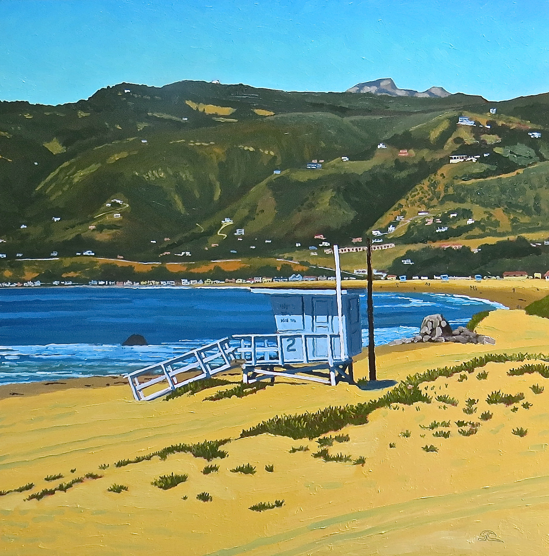 """Zuma Beach from Windward Road"" oil on panel 24 x 24"