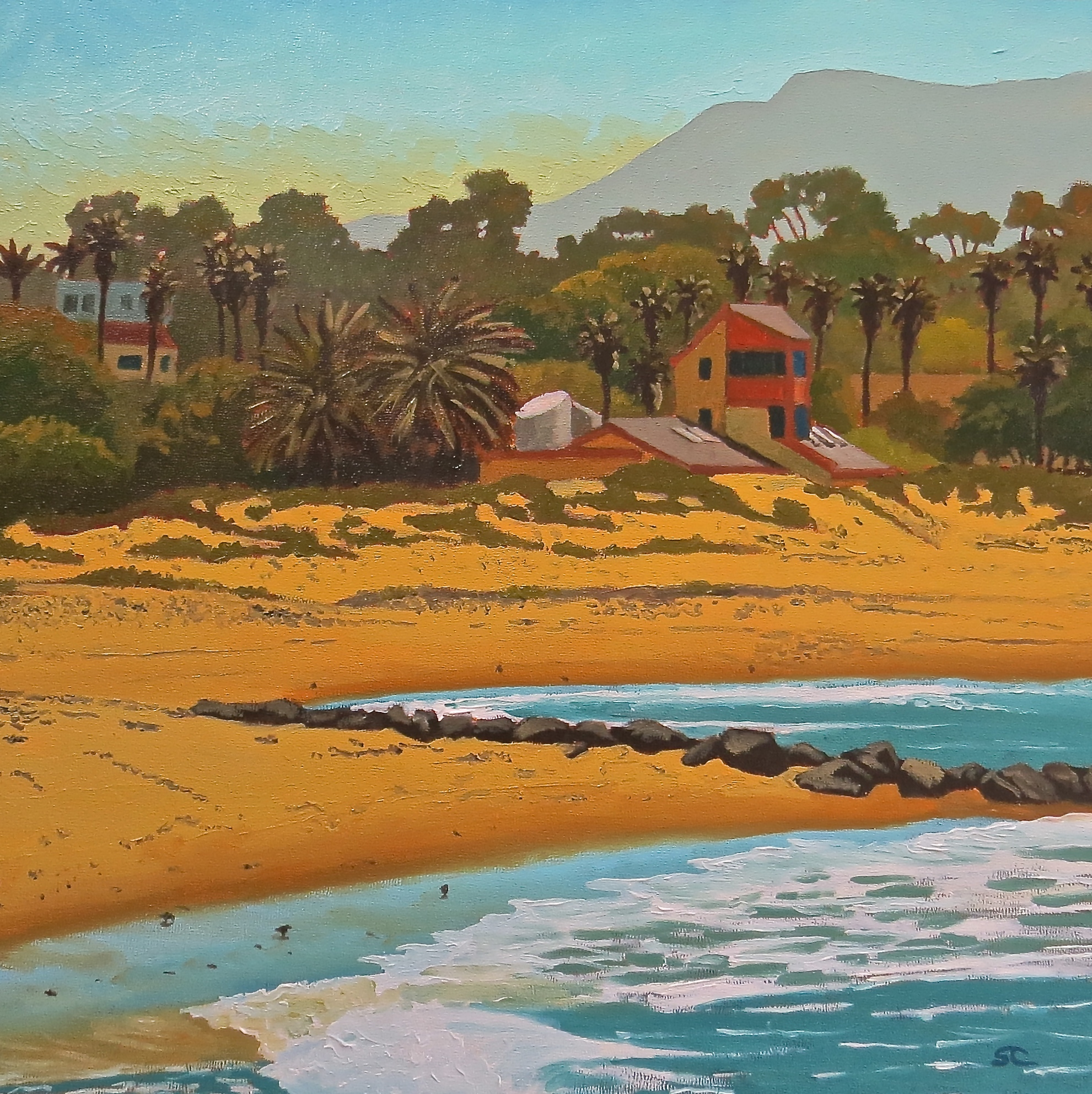 Lifeguard HQ, San Buenaventura State Beach,  oil on panel 16 x 16