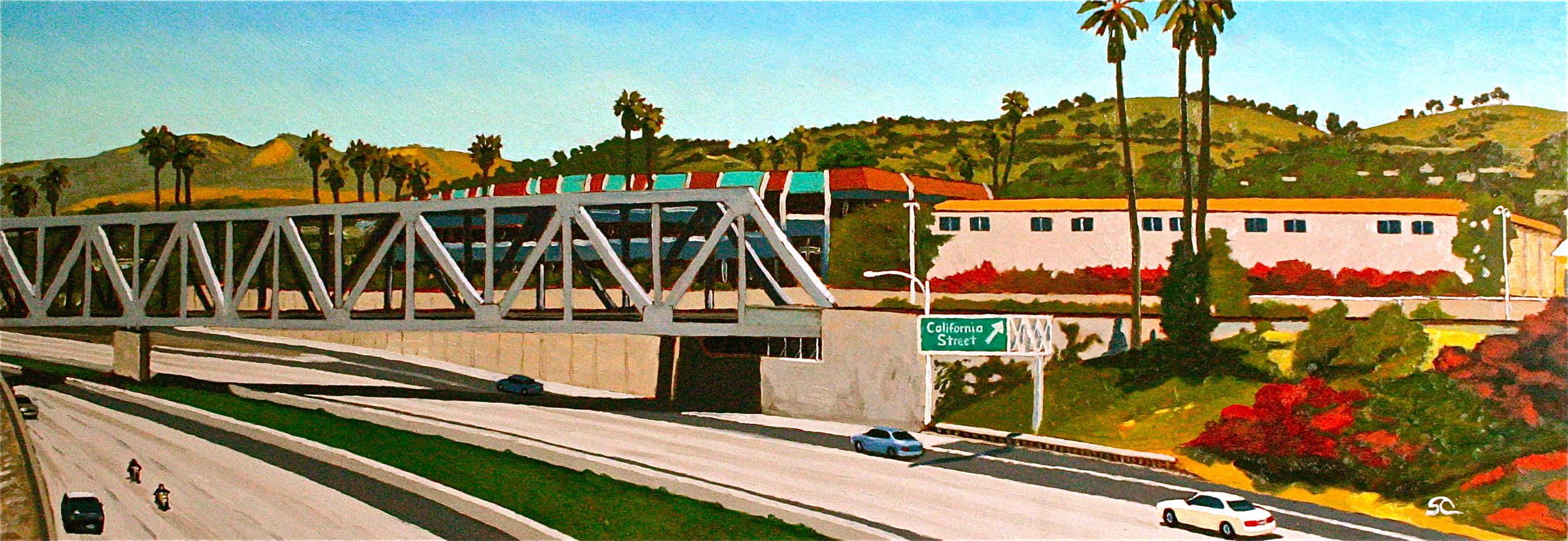 Get Off at California Street oil on panel 24 x 48