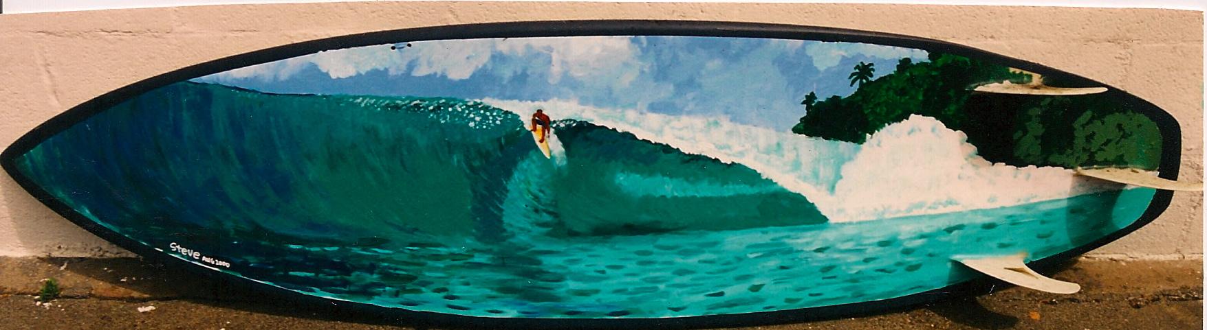 """""""Big Drop"""" acrylic on surfboard  sold"""