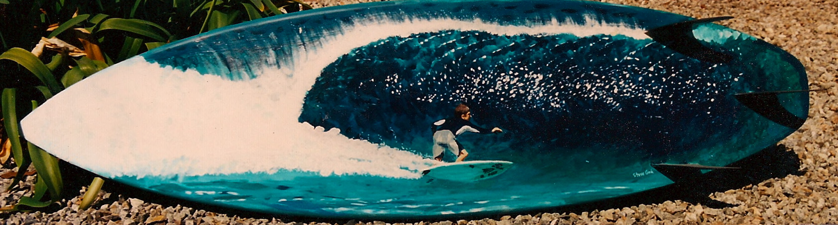 """Kellen Ellison Bottom Turn"" acrylic on surfboard  sold"
