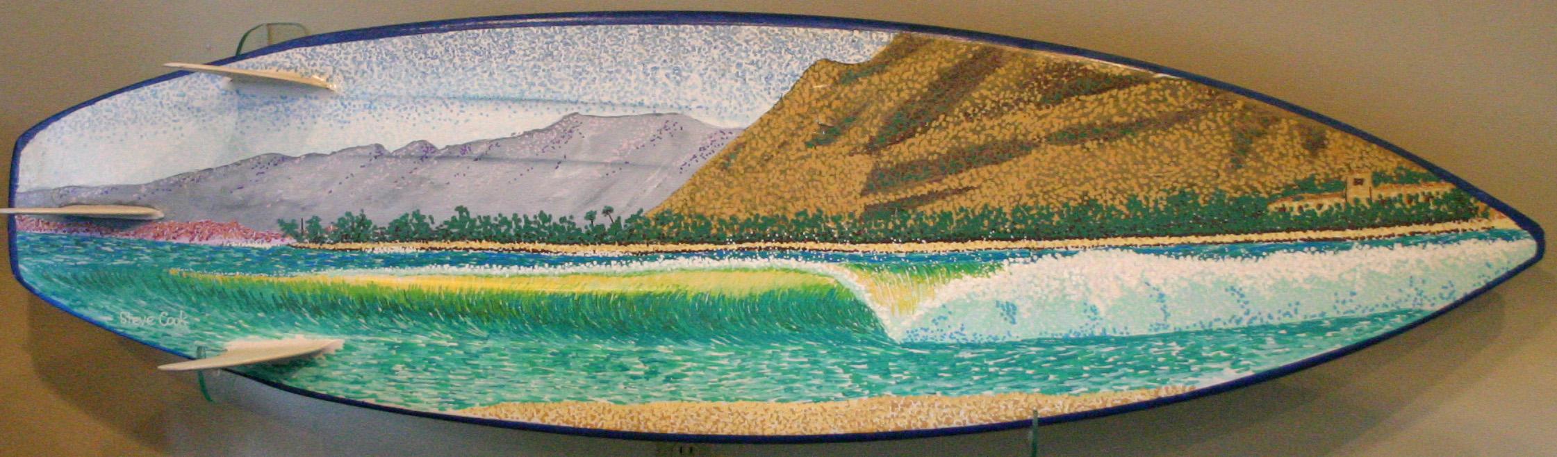 """Brunswick Lane Perfection"" paint pens on surfboard  sold"
