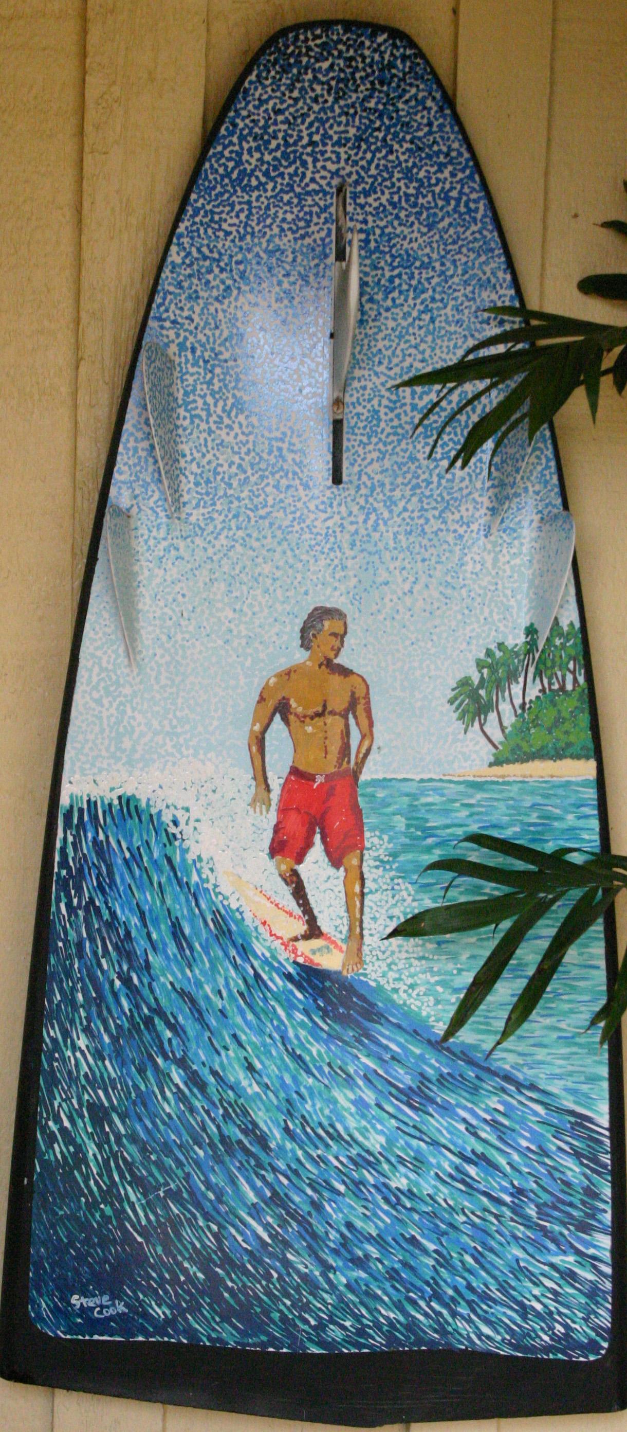 """Noserider on Broken Bonzer"" paint pens on surfboard   sold"