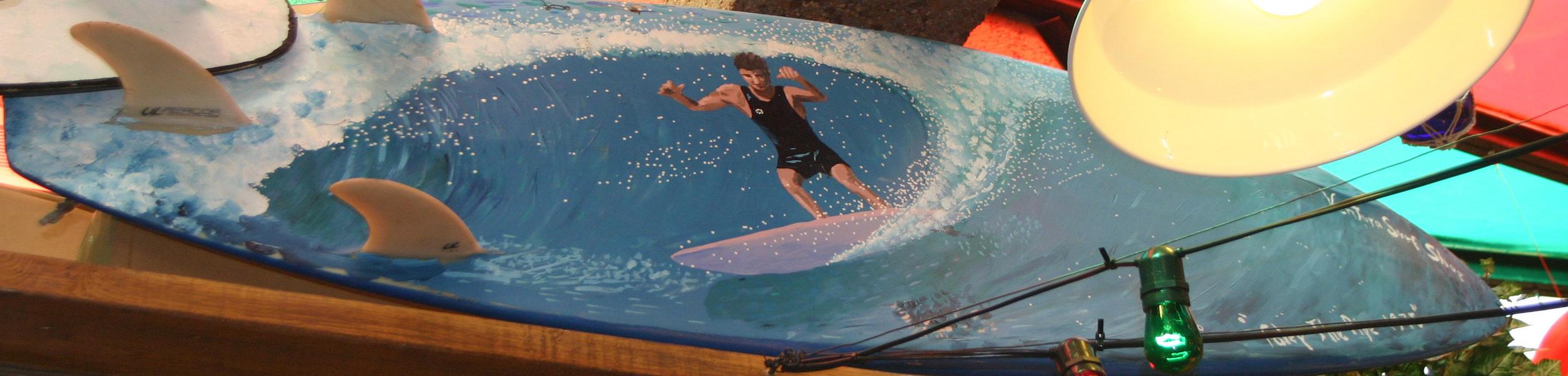 """Tudor"" acrylic on surfboard  sold"