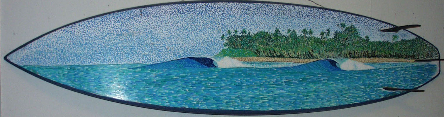 """""""Andaman Islands"""" paint pens on surfboard  sold"""
