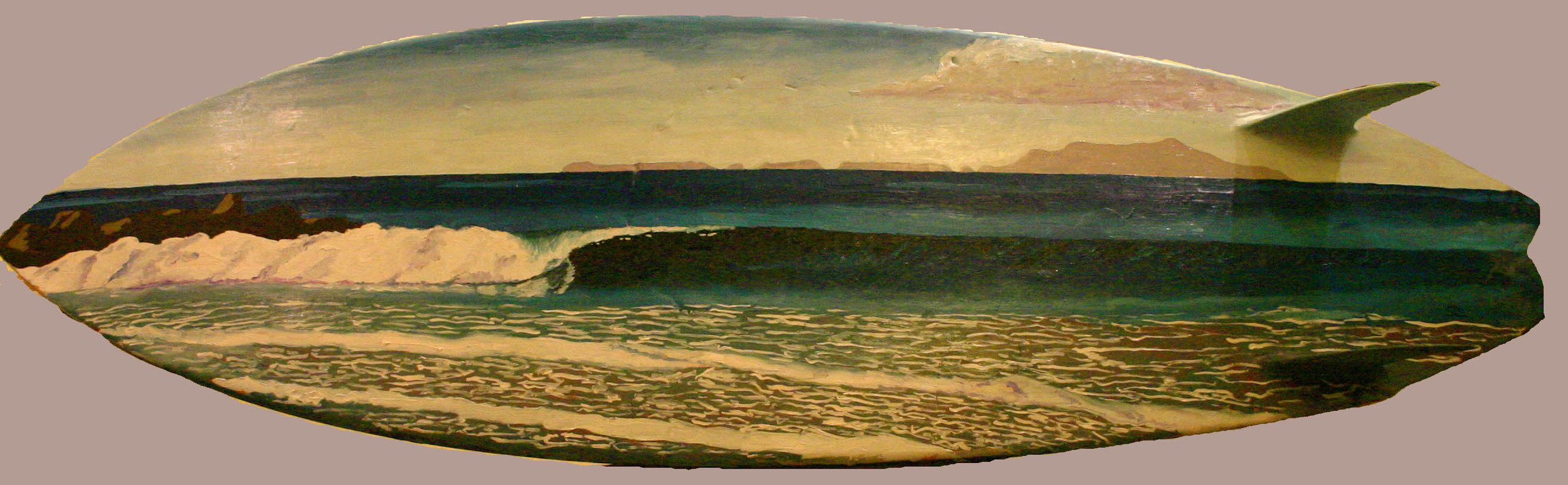 """""""Schoolhouse"""" oil paint on surfboard  collection of the artist"""