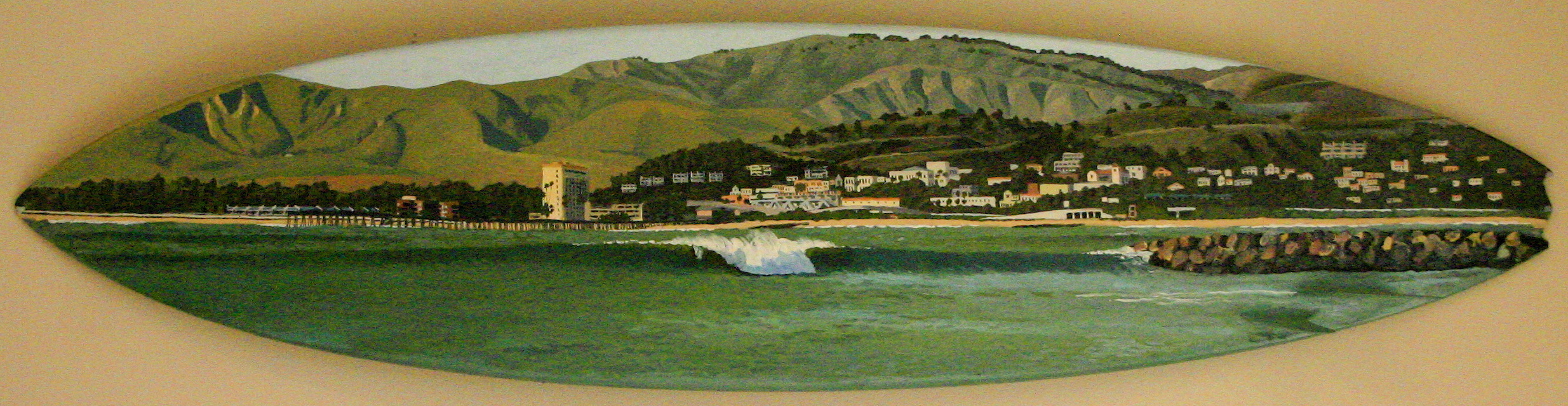 """""""Dredge"""" oil paint on surfboard  sold"""