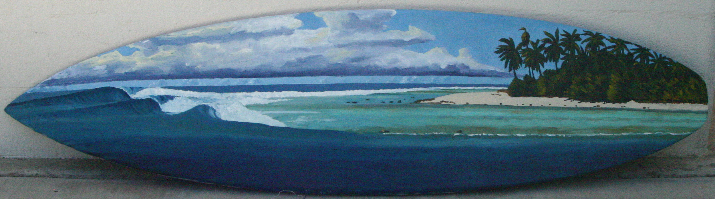"""""""Southern Atoll, Maldives"""" oil paint on surfboard  collection of the artist"""