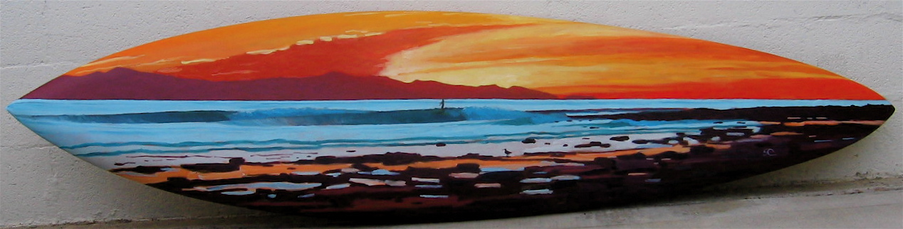 """Evening Glass"" oil paint on surfboard"