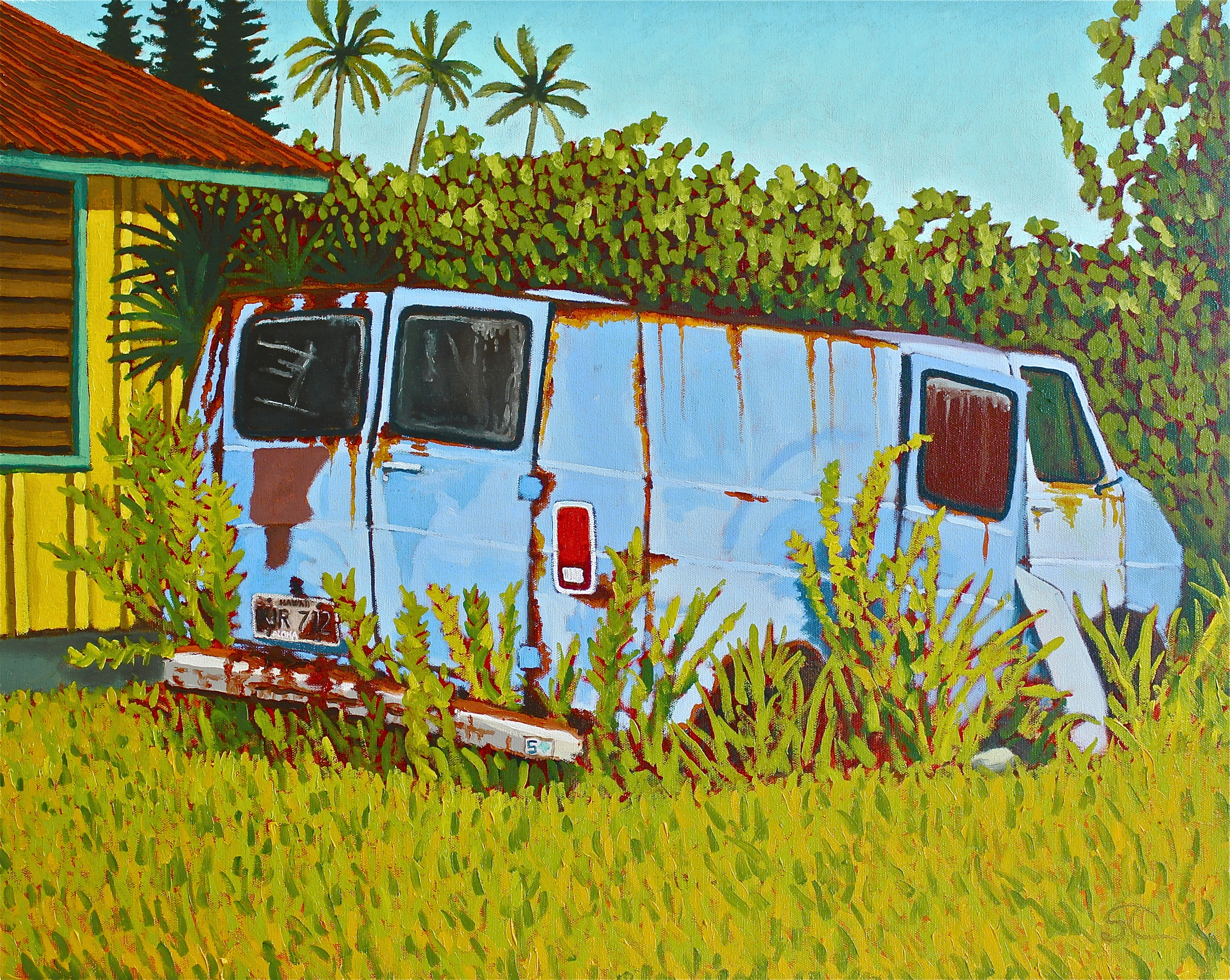 """""""Long Term Parking, Kaua'i Style"""" oil on canvas 24 x 30"""
