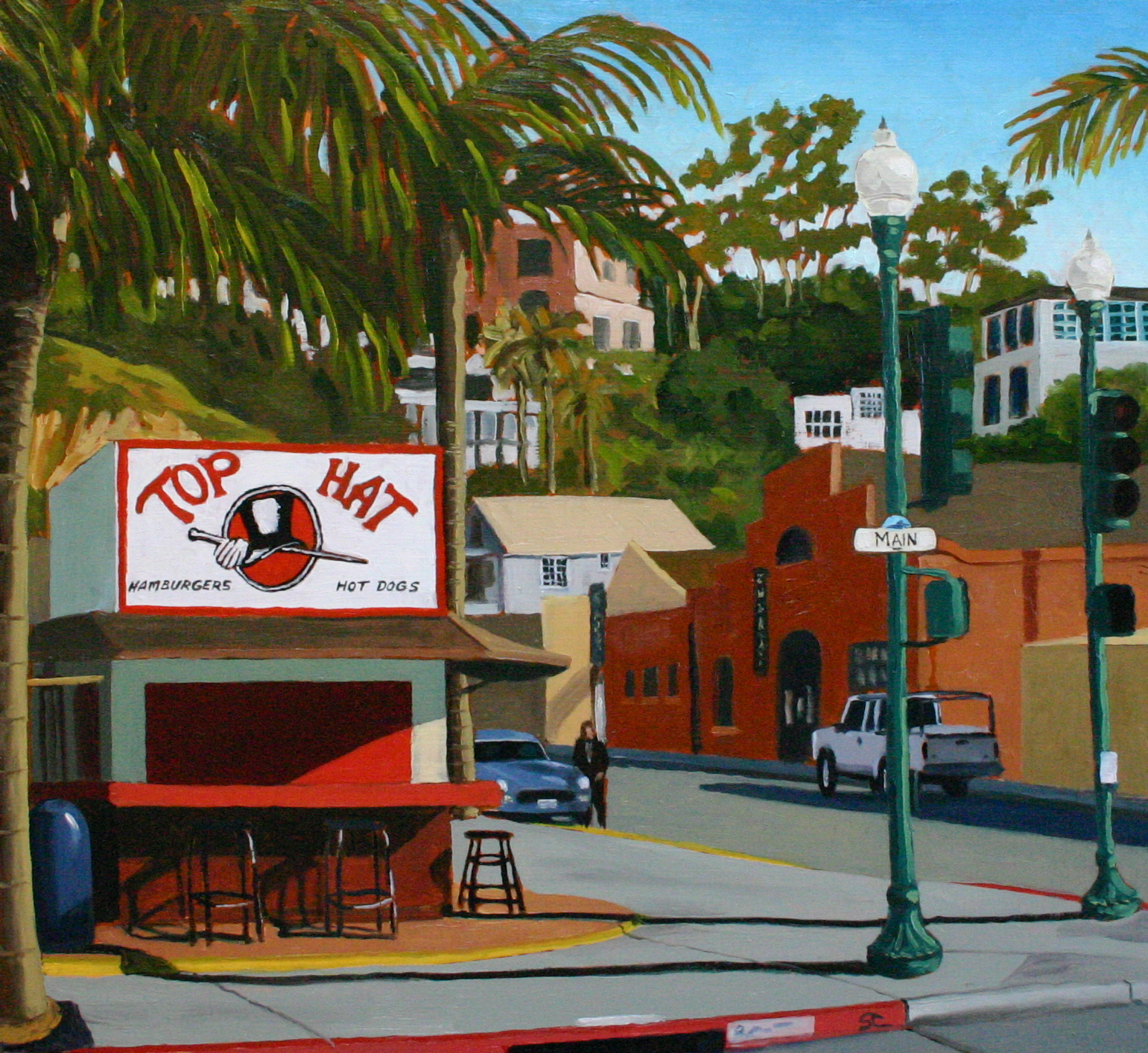 """""""Top Hat Burgers and Dogs"""" oil on panel 22 x 24  sold"""