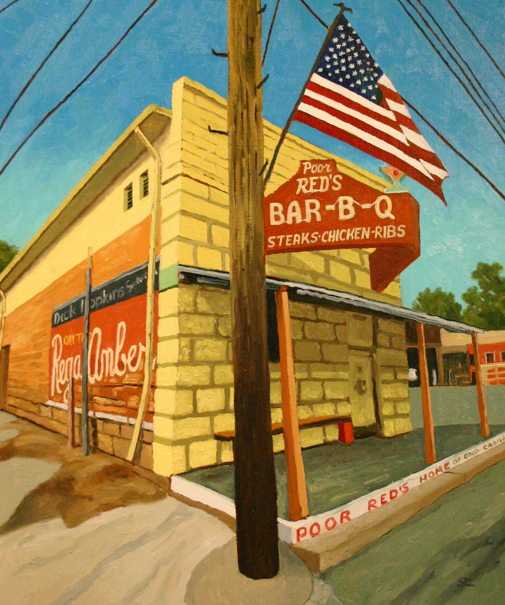 """Poor Red's Bar-B-Q"" oil on panel 20 x 24 sold"