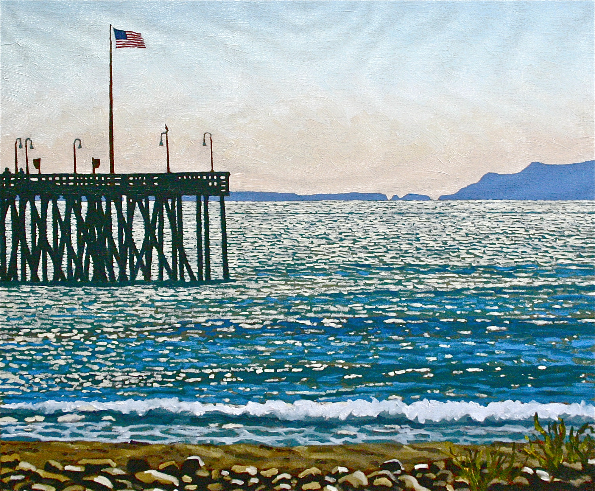 """""""East Wind at the Pier"""" oil on canvas 20 x 24  sold"""