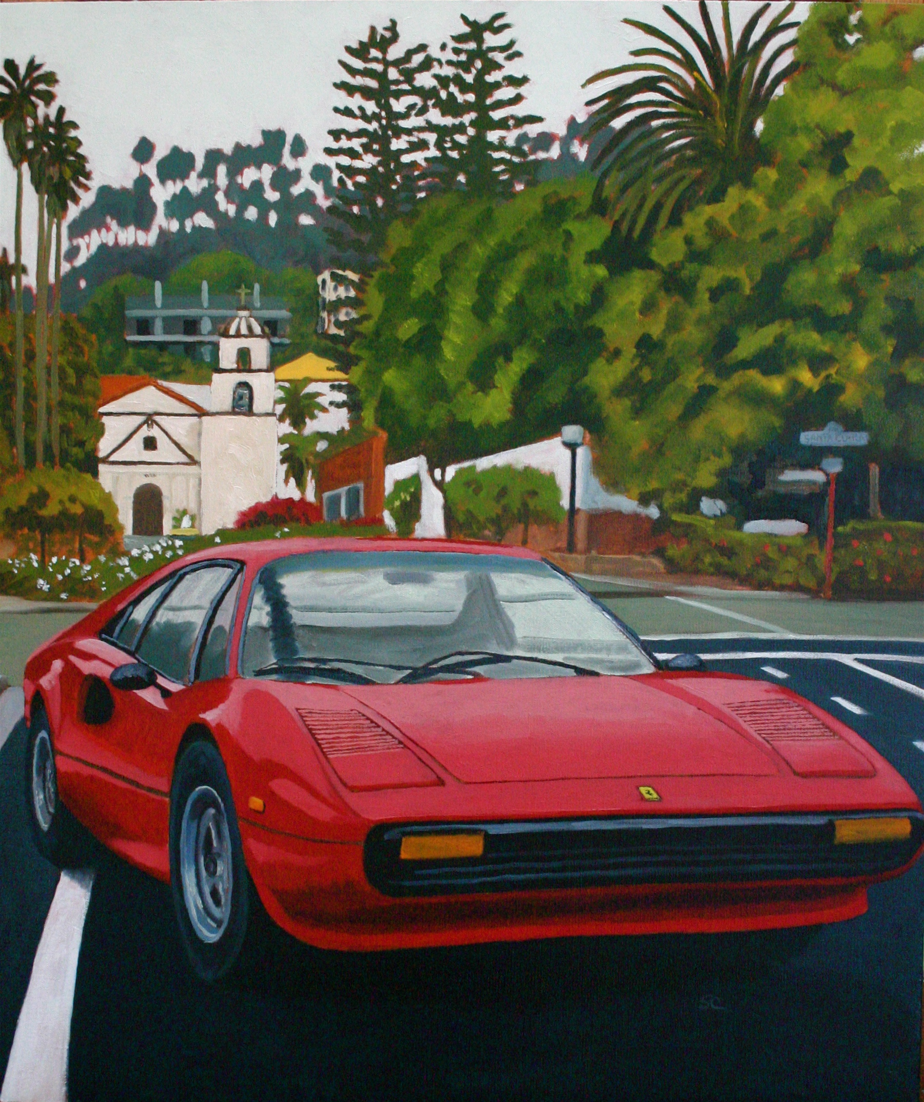 """Bill's Ferrari"" oil on canvas 24 x 30  sold"