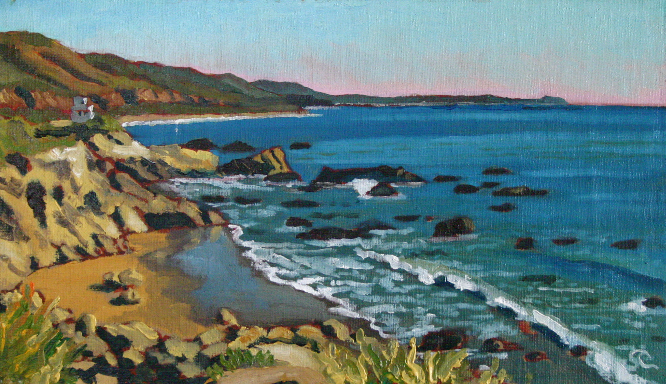 """Leo Carrillo Beach"" oil on canvas panel 7 x 12  sold"