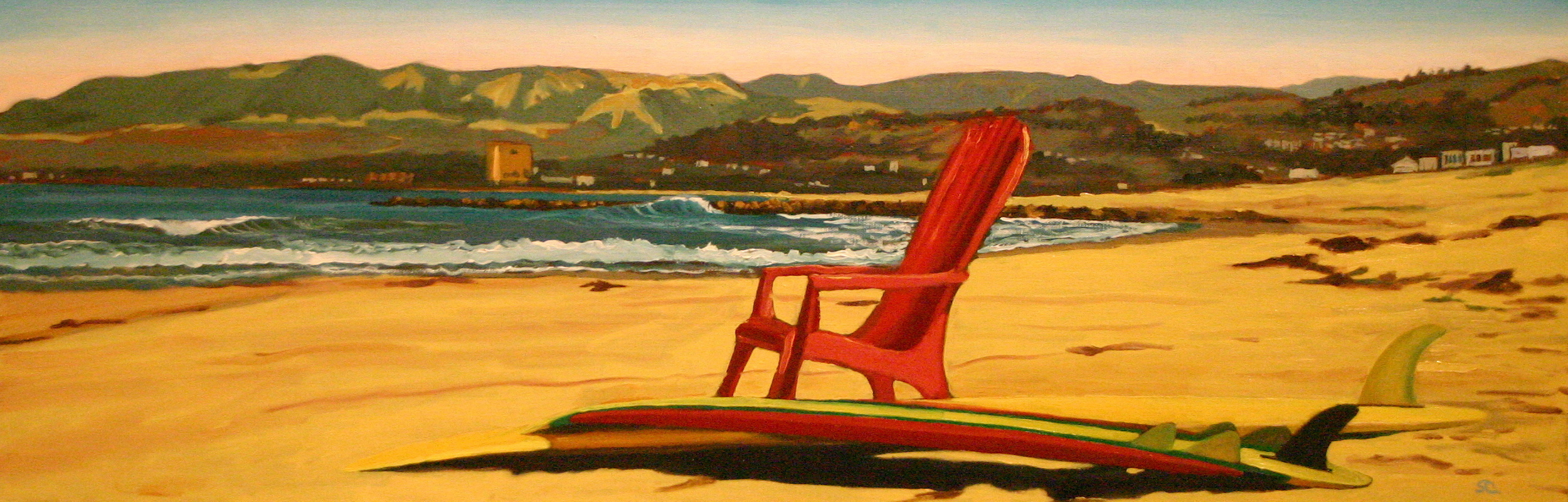"""""""Red Chair Looking North""""  oil on canvas 12 x 36   sold"""