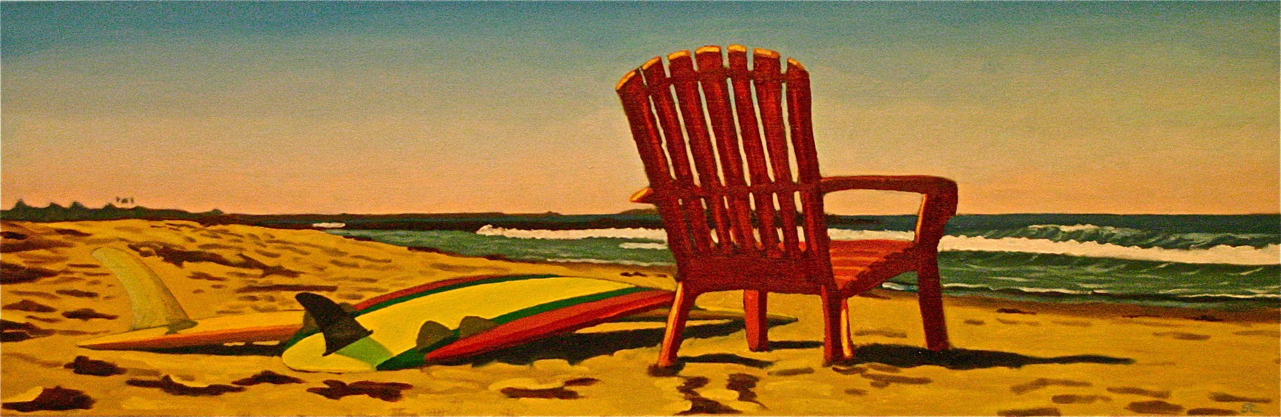 """""""Red Chair Looking South"""" oil on canvas 12 x 36   sold"""