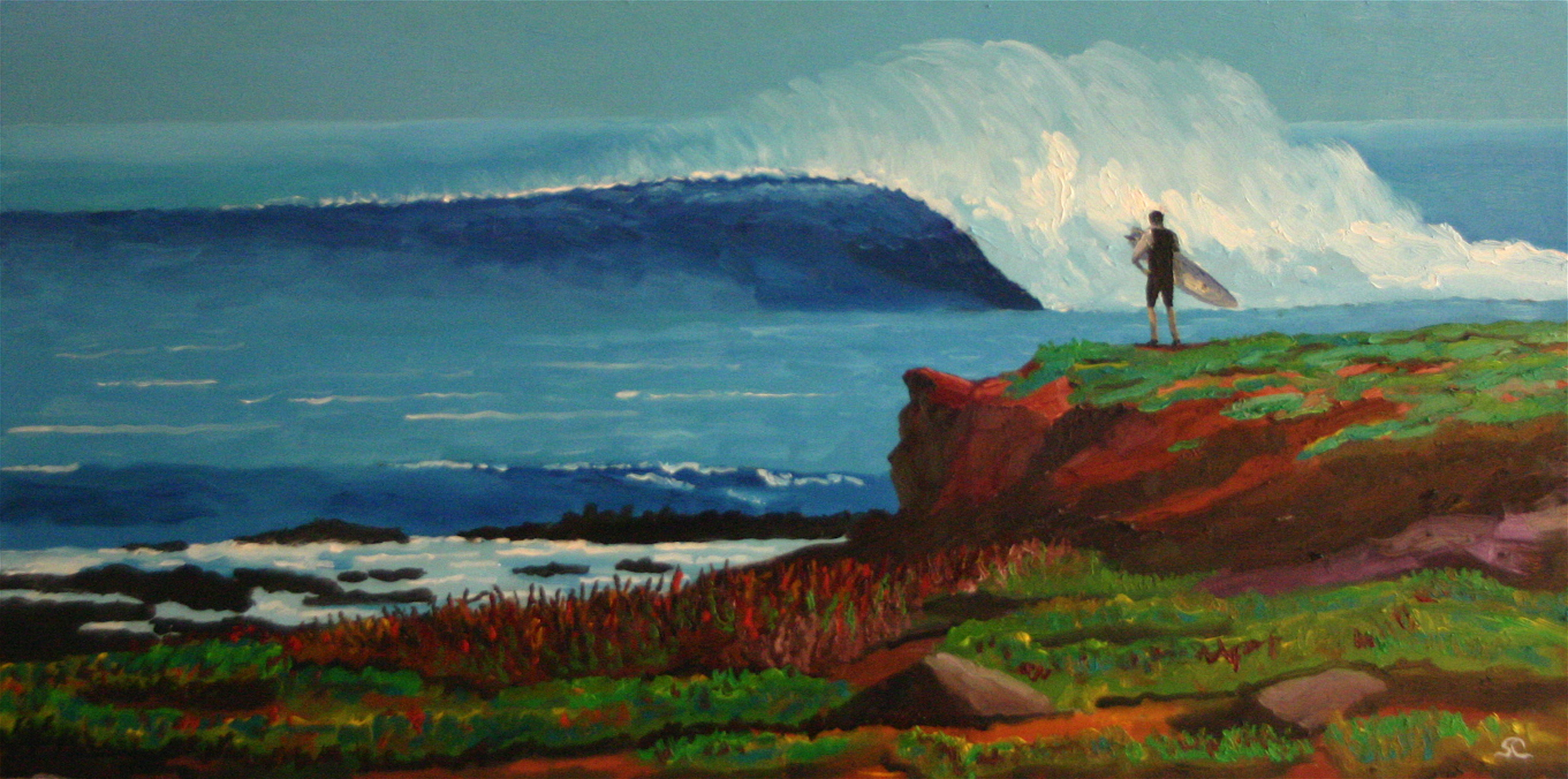 """""""Tom at Magdalena Bay"""" oil on canvas 15 x 30  sold"""