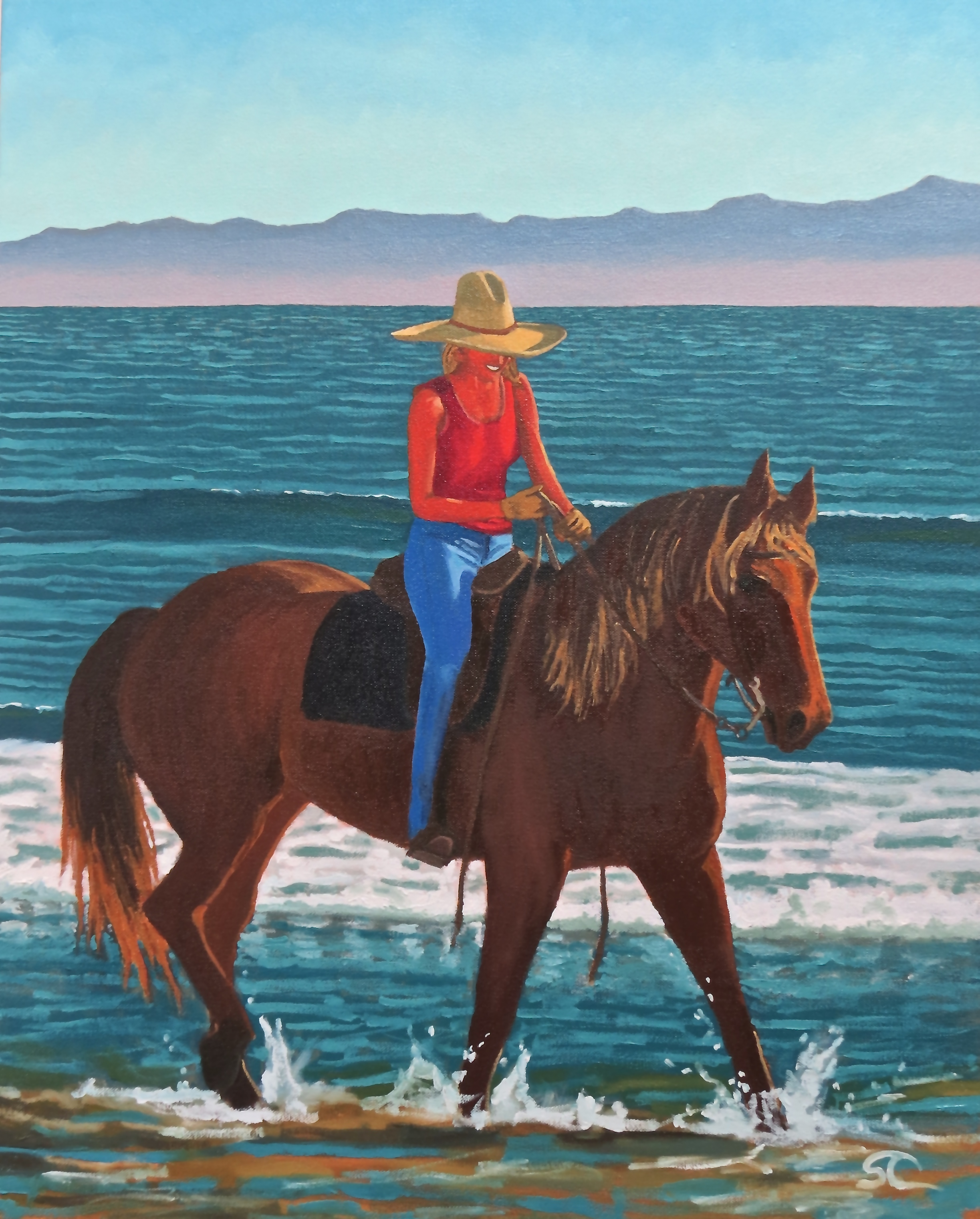 """""""Cowgirl in the Sand"""" oil on canvas, 24 x 30  sold"""