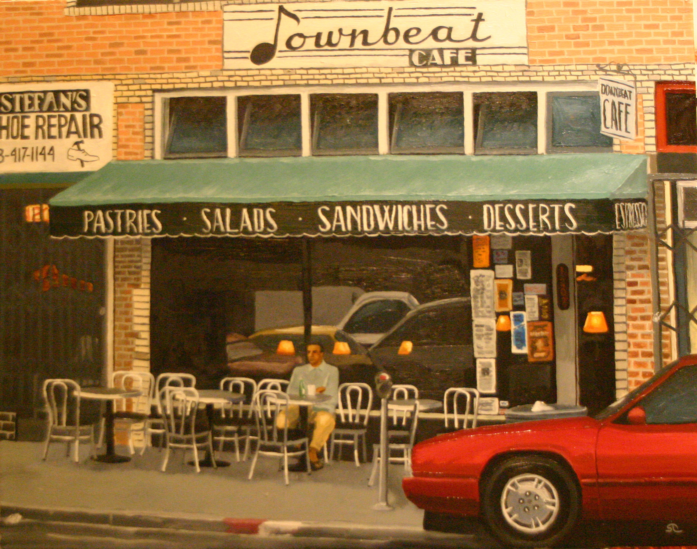 Downbeat Cafe oil on canvas 22 x 28