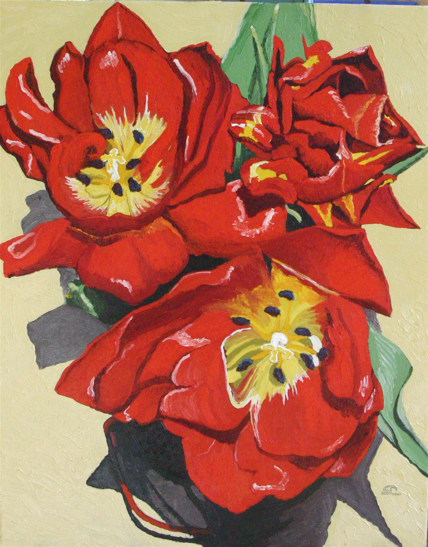 Tulips in Heat  oil on canvas 24 x 30