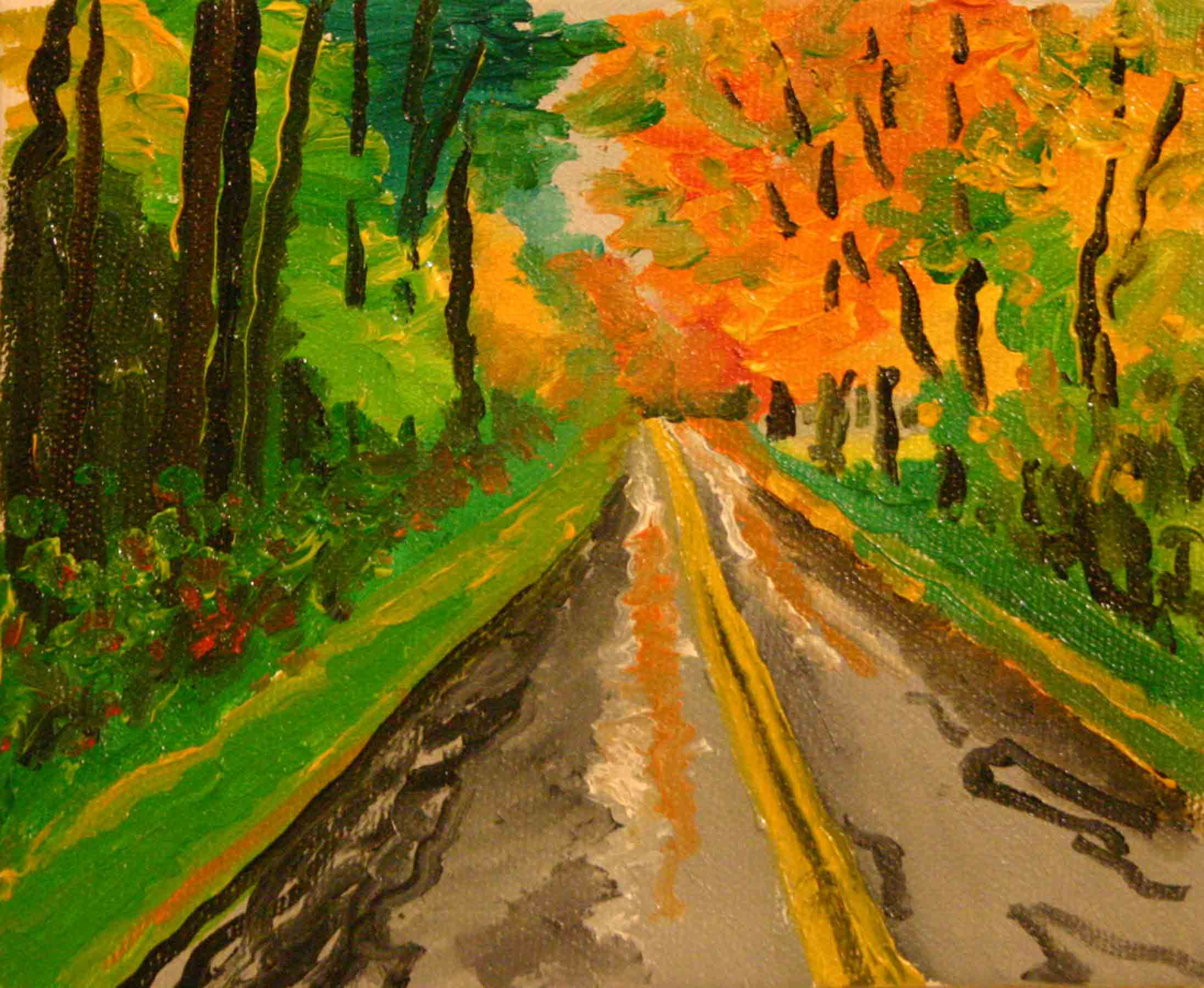 Back Road, Lee, Massachusetts  oil on canvas 5 x 6