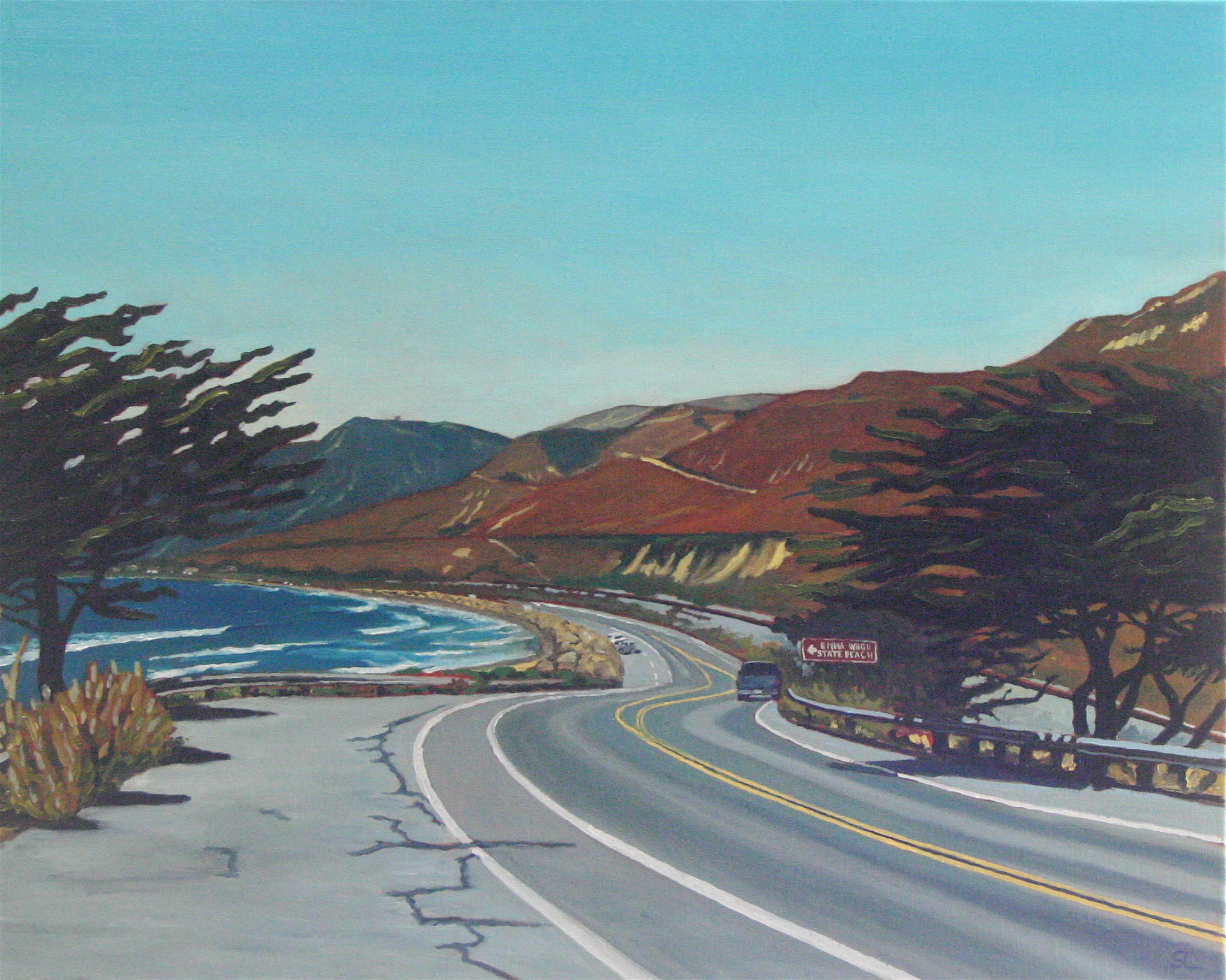 """Emma Wood State Beach"" oil on canvas 24 x 30  sold"