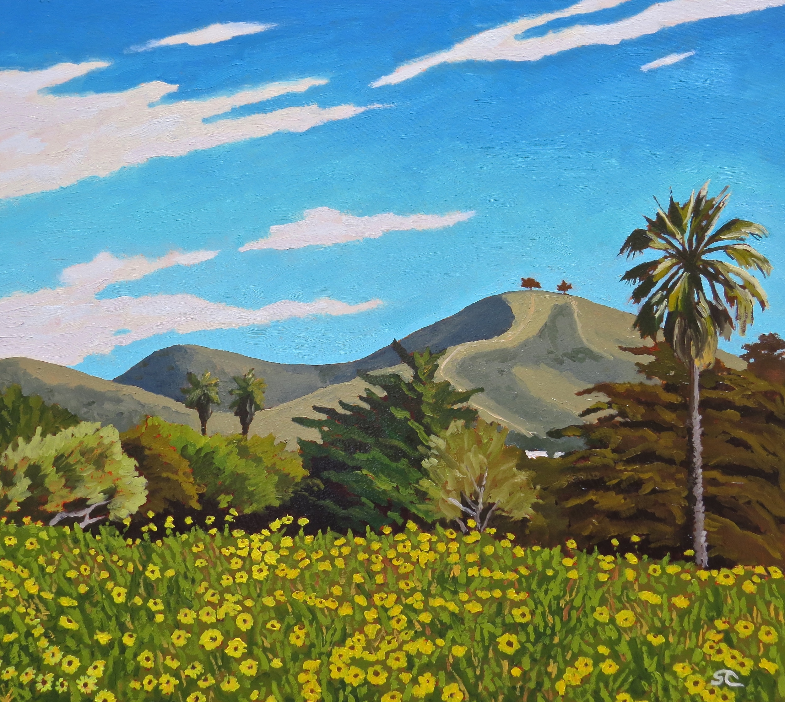 """San Buenaventura, Early Spring"" oil on masonite 18 x 20"