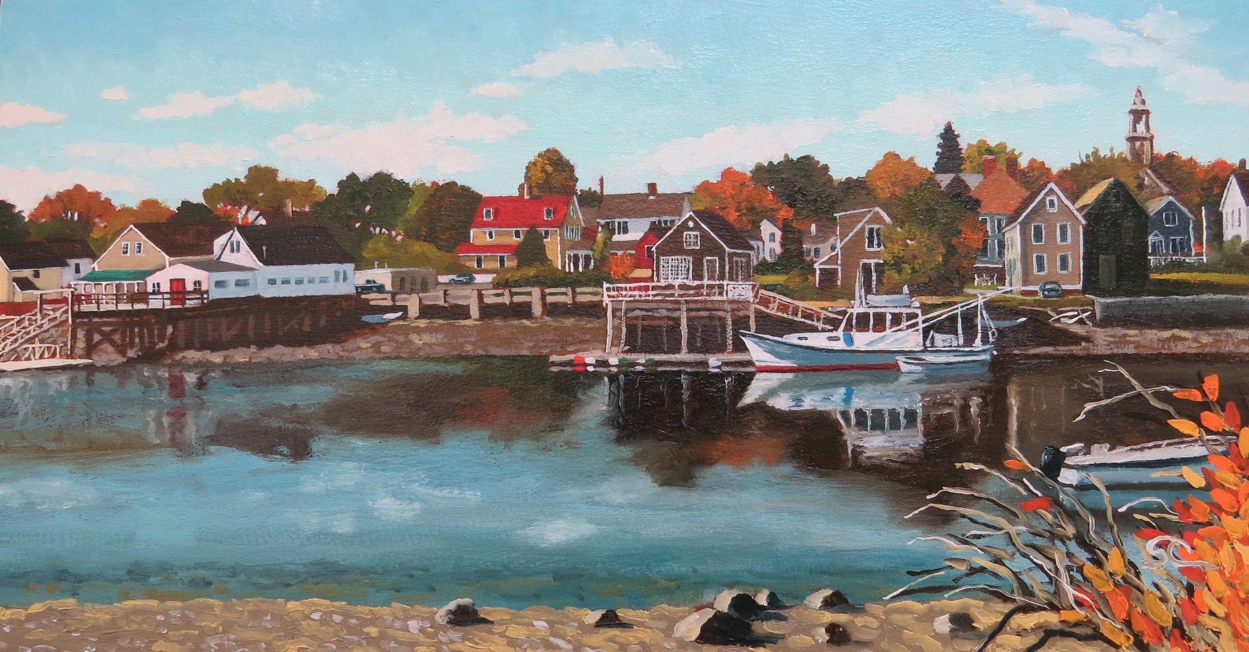 """Portsmouth on the River"" oil on birch panel, 11.75 x 22"