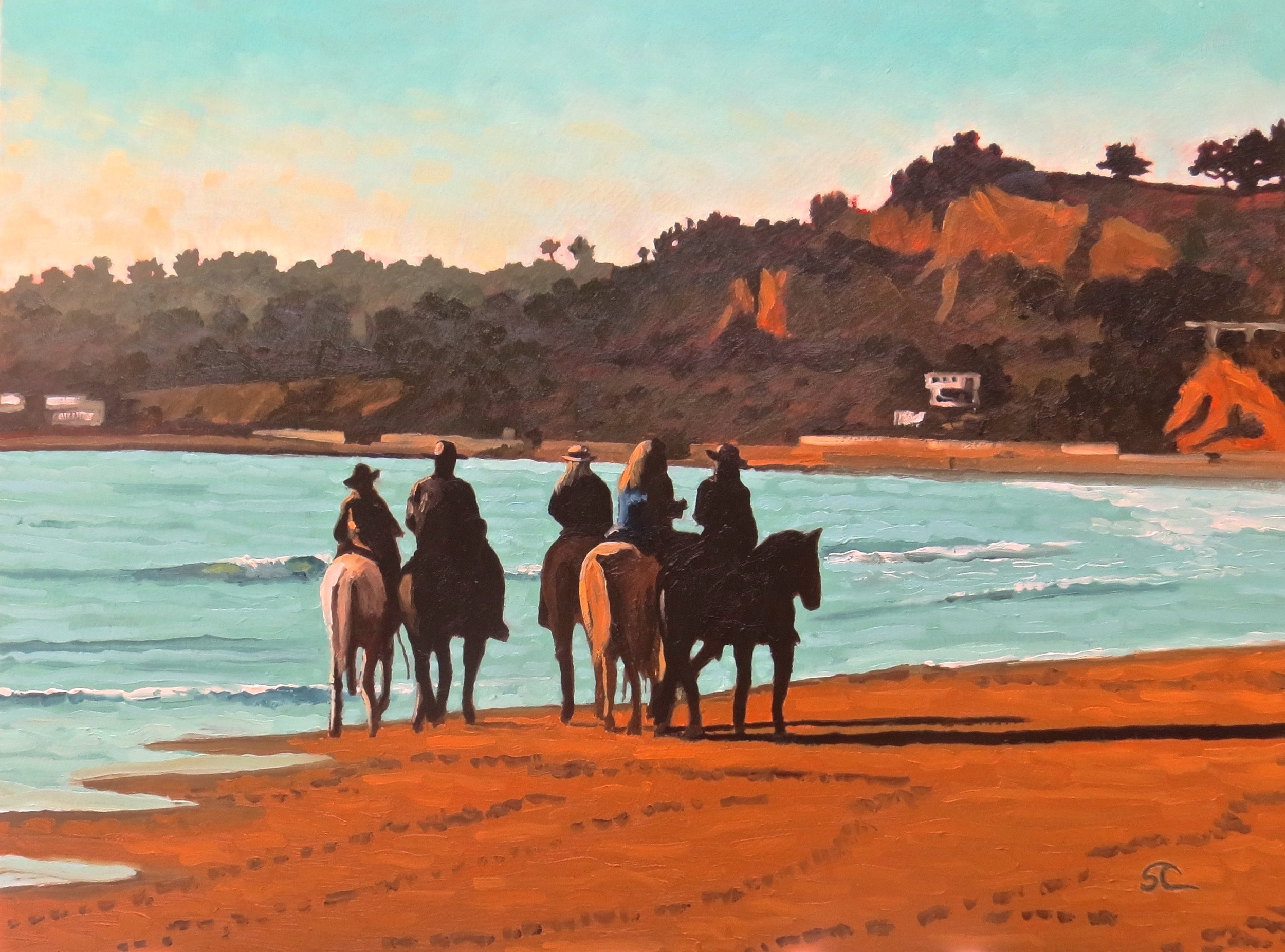 """Beach Riders"" oil on panel 18 x 24"