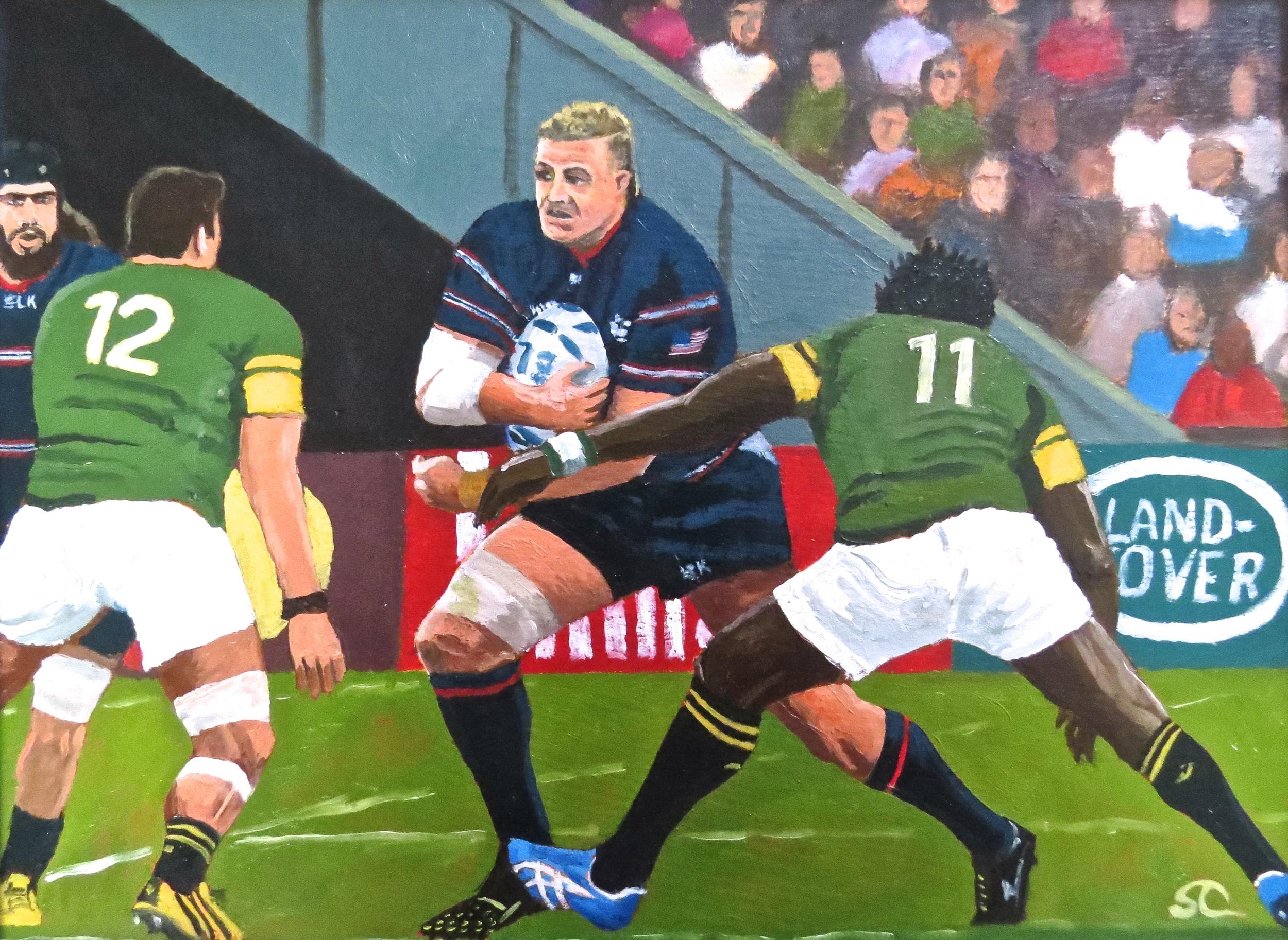 """""""Louis vs. The Springboks"""" oil on panel 12 x 16"""