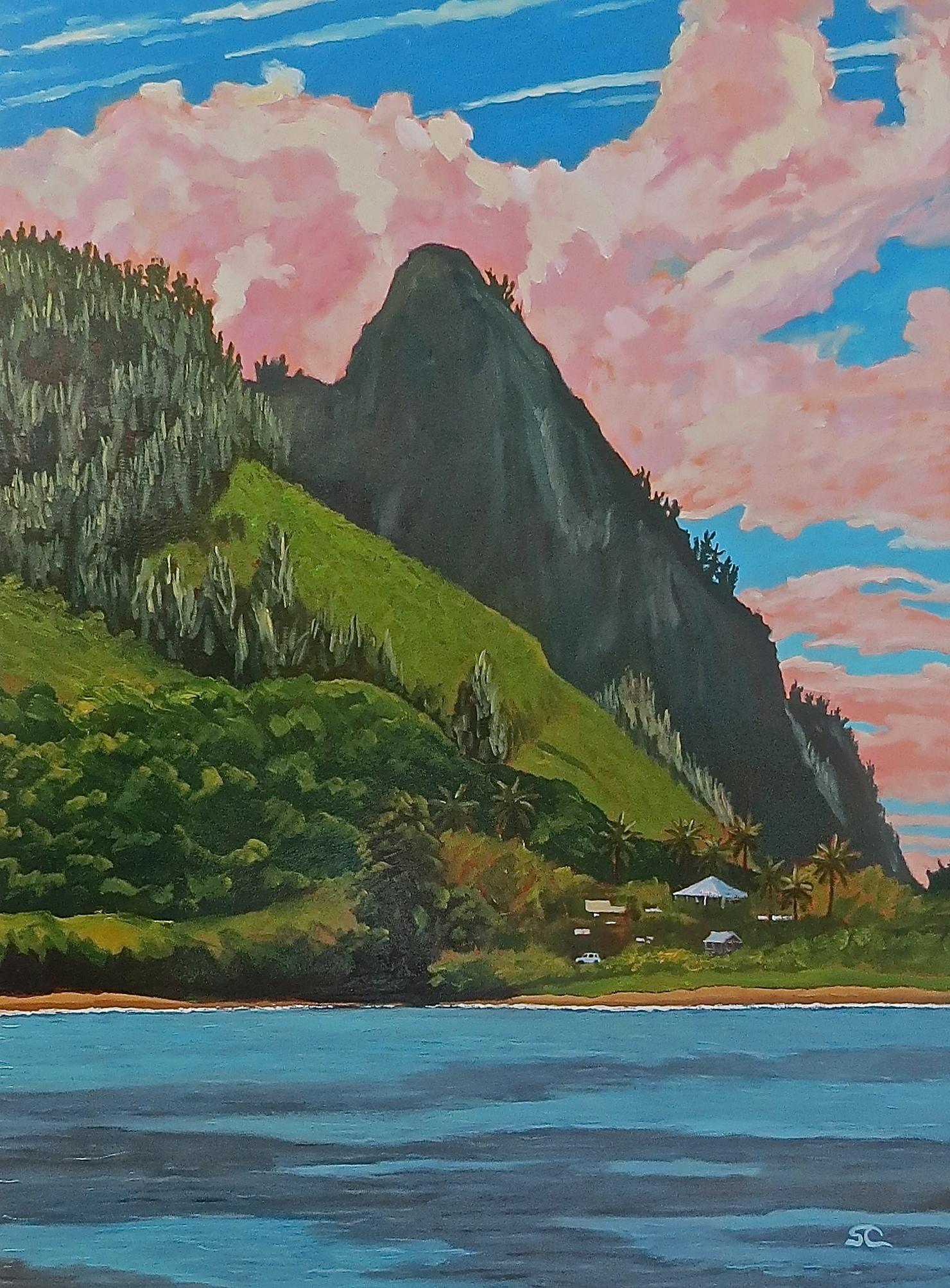 """Haena from Tunnels Beach"" oil on panel 30 x 40"