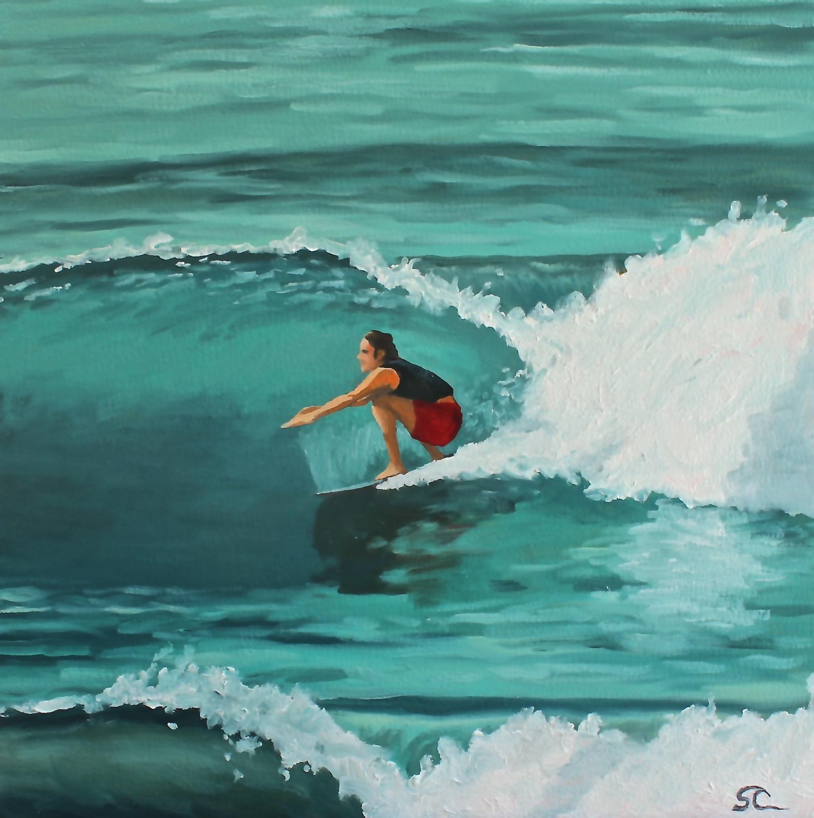 """Zolkover Surfing"" oil on panel 16 x 16"