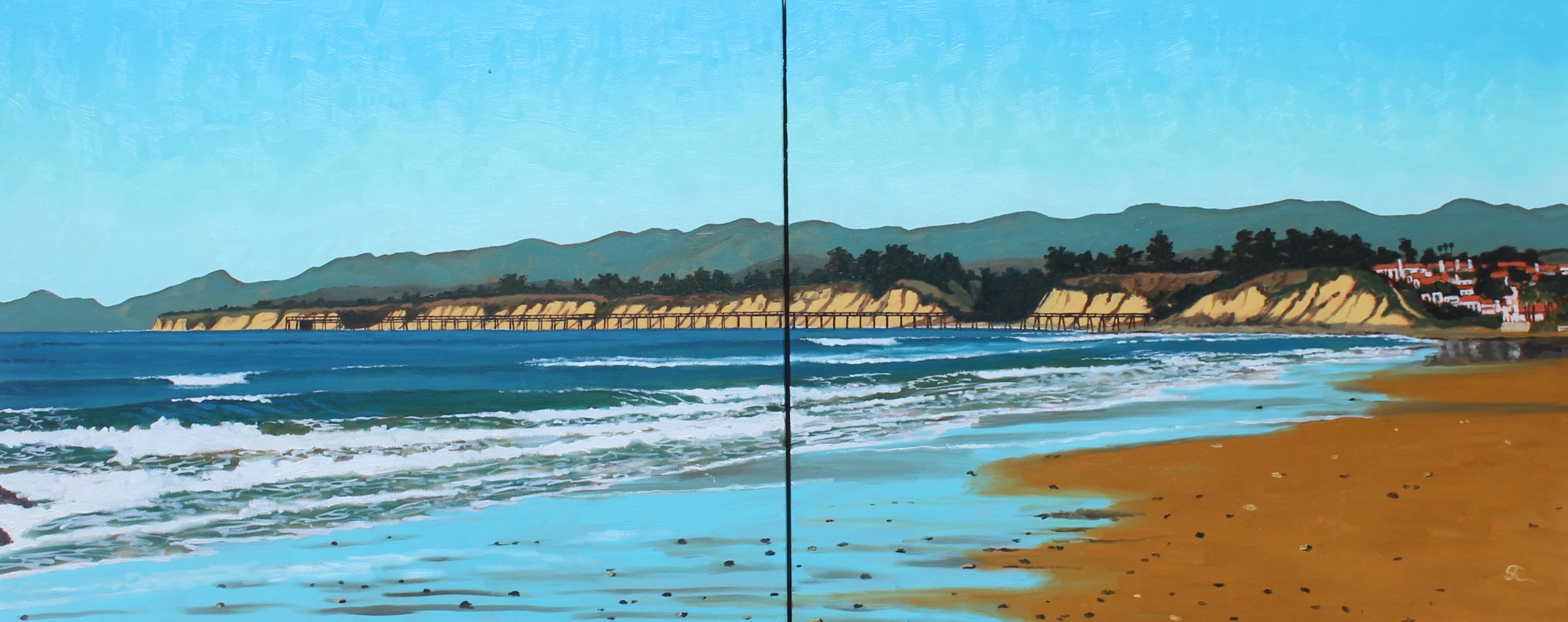 """Naples Beach"" oil on canvas 24 x 60 diptych   Commissioned Piece"